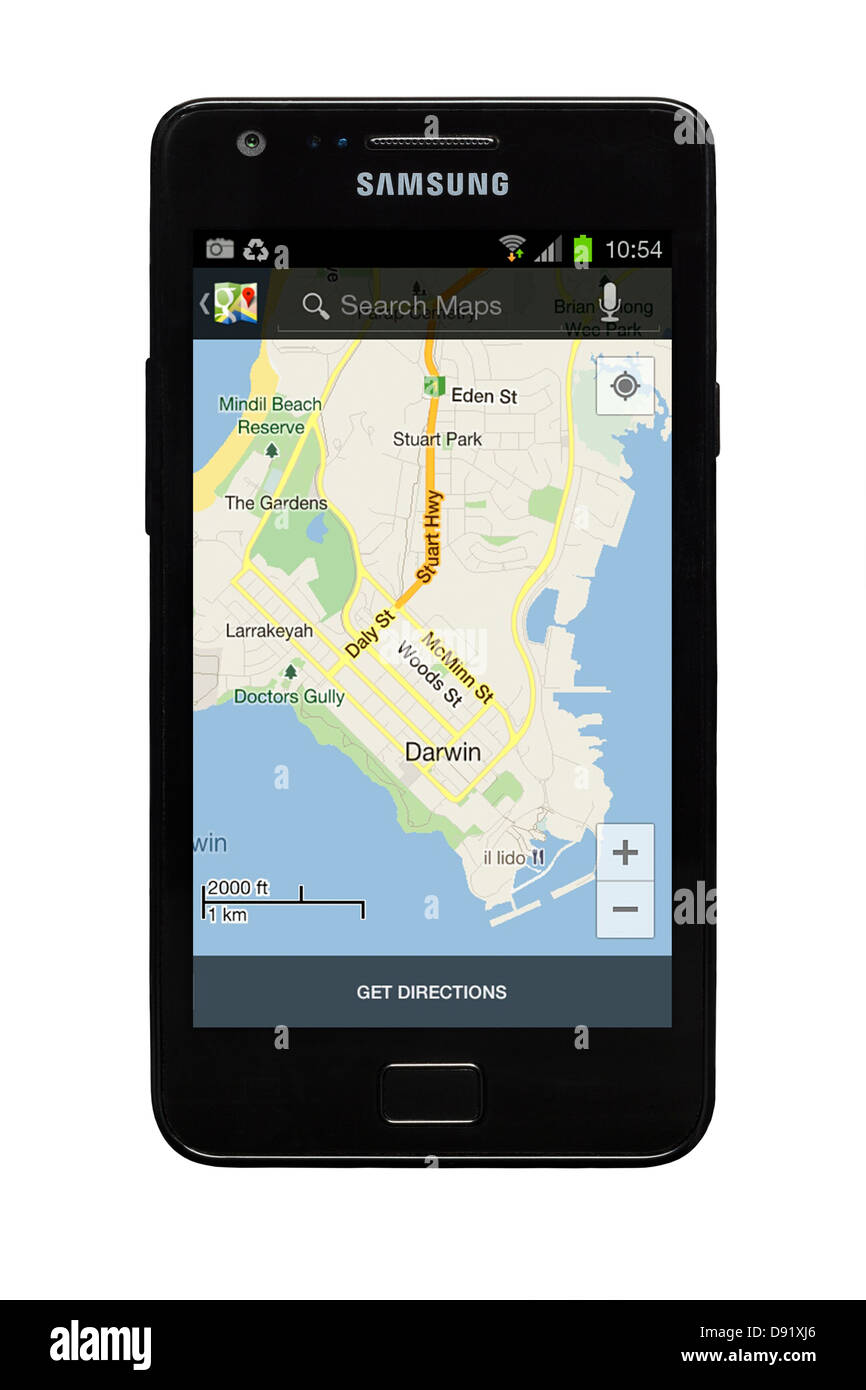 Samsung Galaxy S2 smartphone with Google map of Darwin, Australia on display. - Stock Image