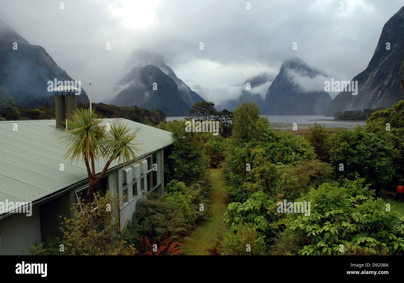 View Of Cloudy Milford Sound From Milford Lodge Fiordland