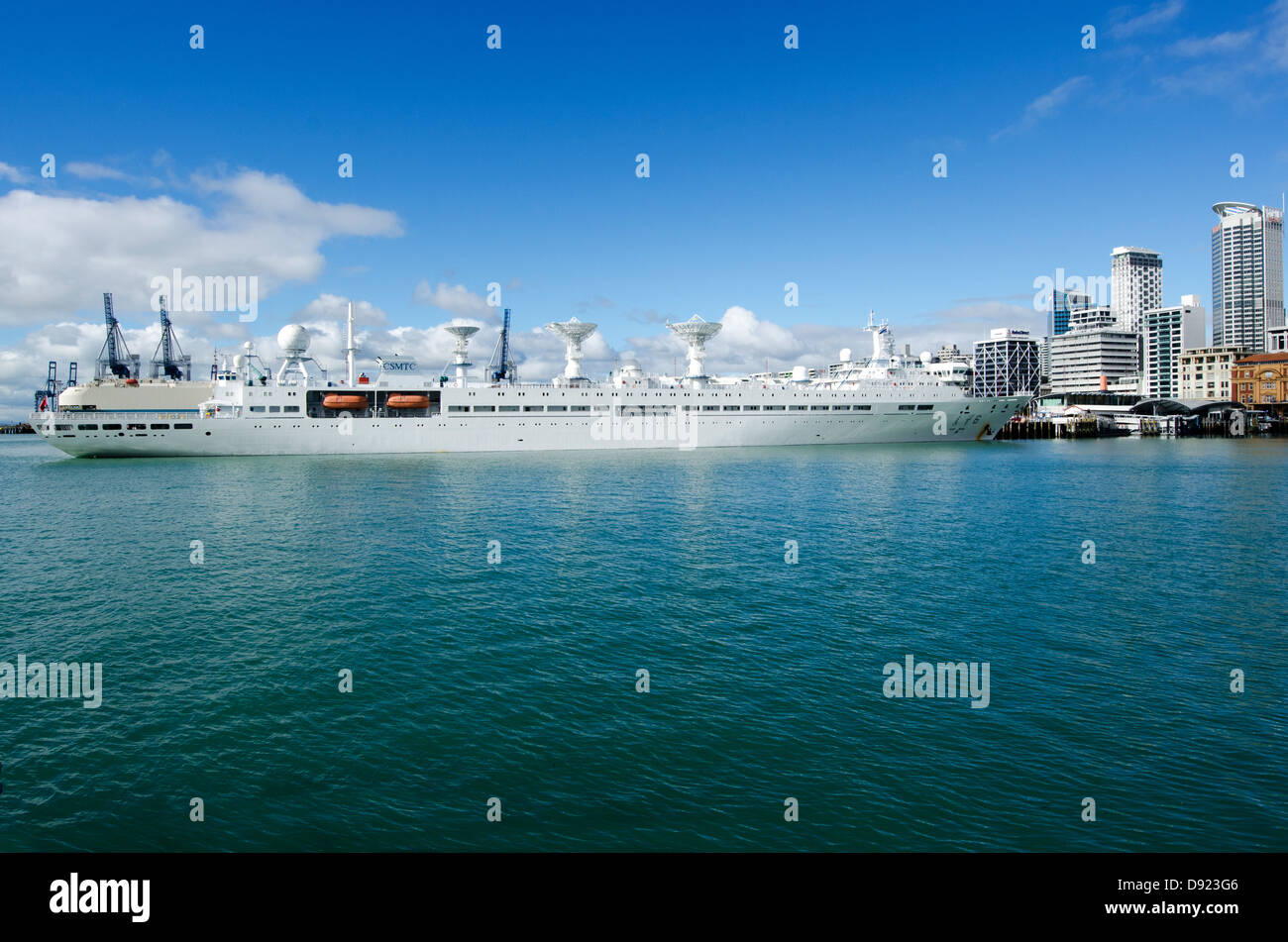 The Yuan Wang 6 berthed Chinese navy ship used to track spacecraft and missile berthed in Auckland City Port, New - Stock Image
