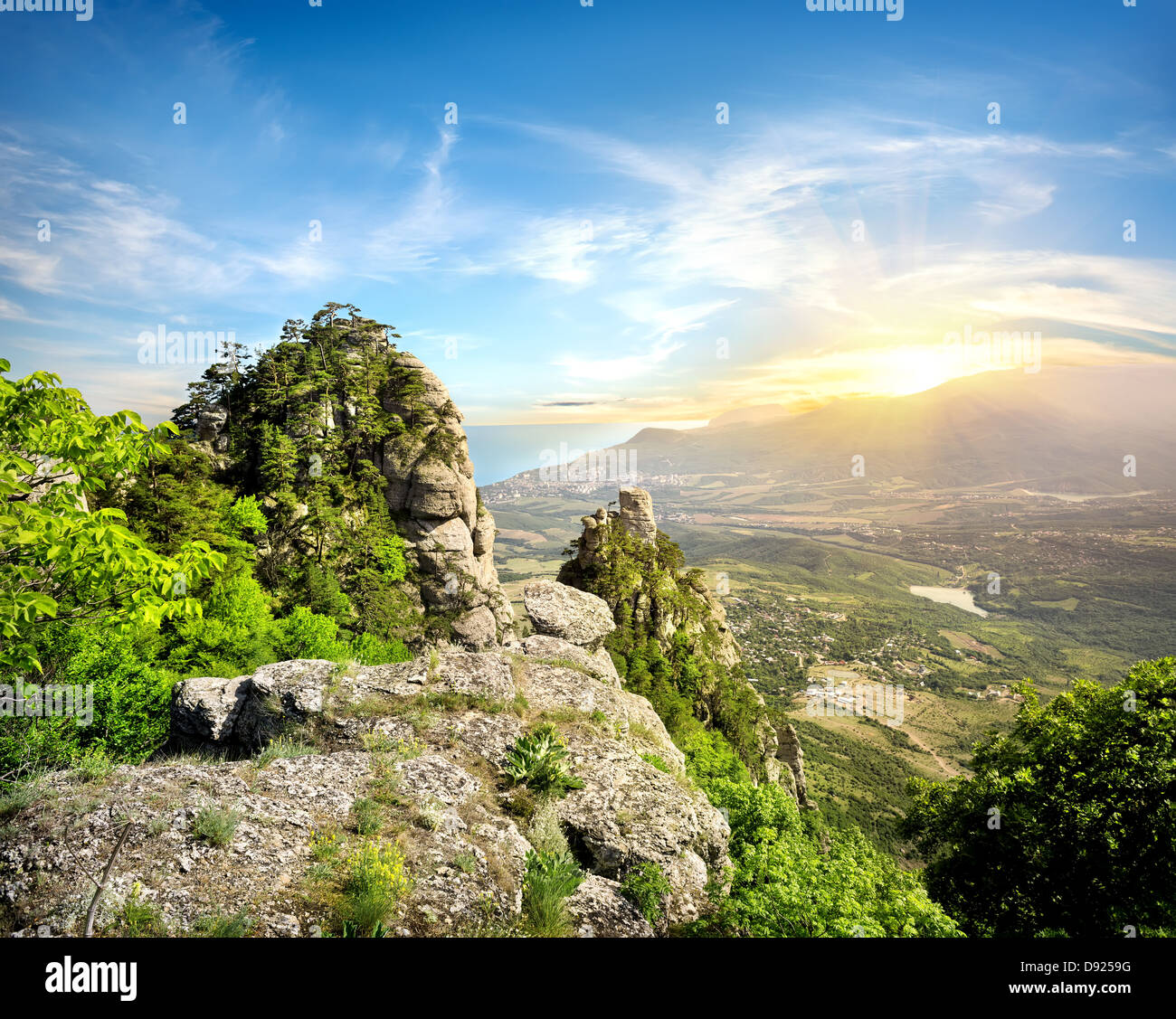 Mountains in the valley of ghosts. Crimea, Ukraine - Stock Image