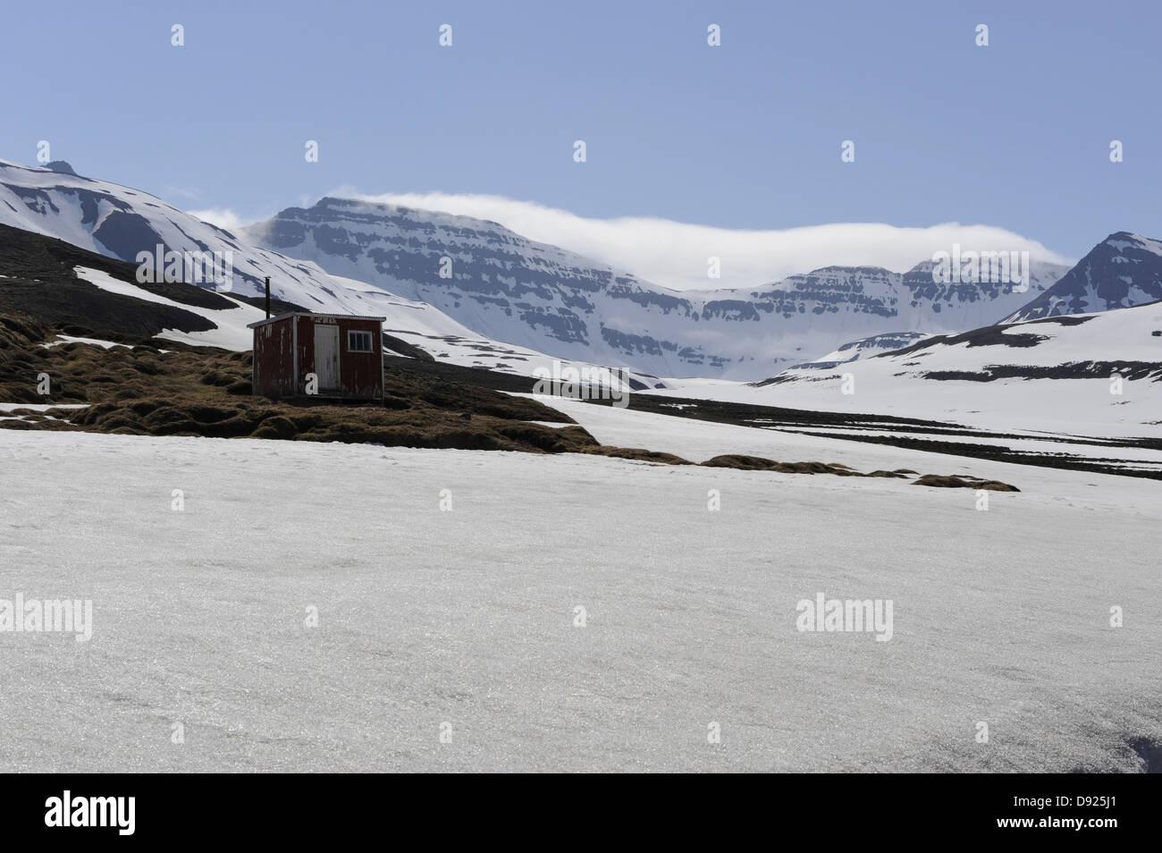 Snowfield, Tröllaskagi, North Iceland, May/June 2010 - Stock Image