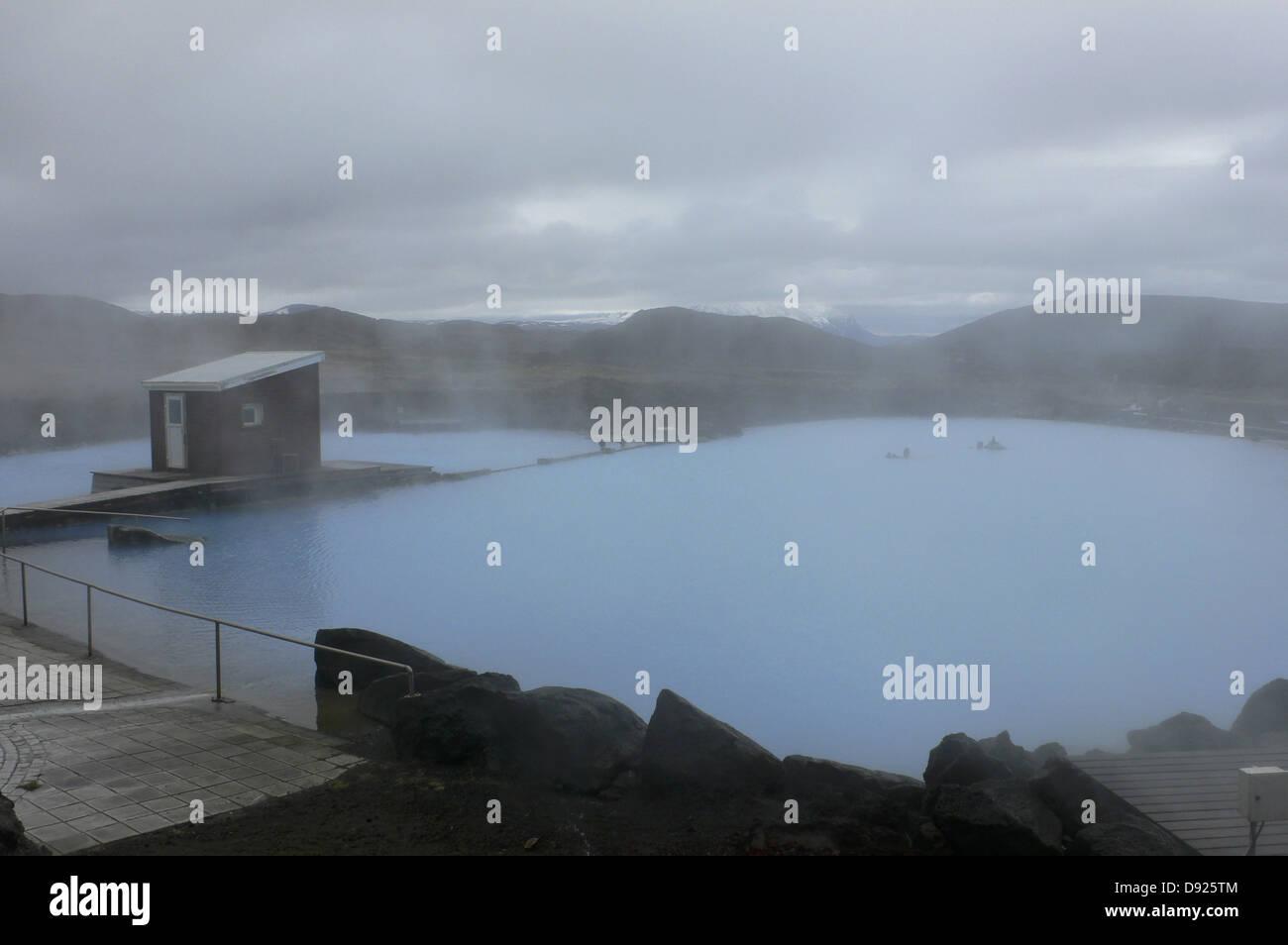 Thermal bath, Mývatn, Northeast Iceland, Iceland - Stock Image