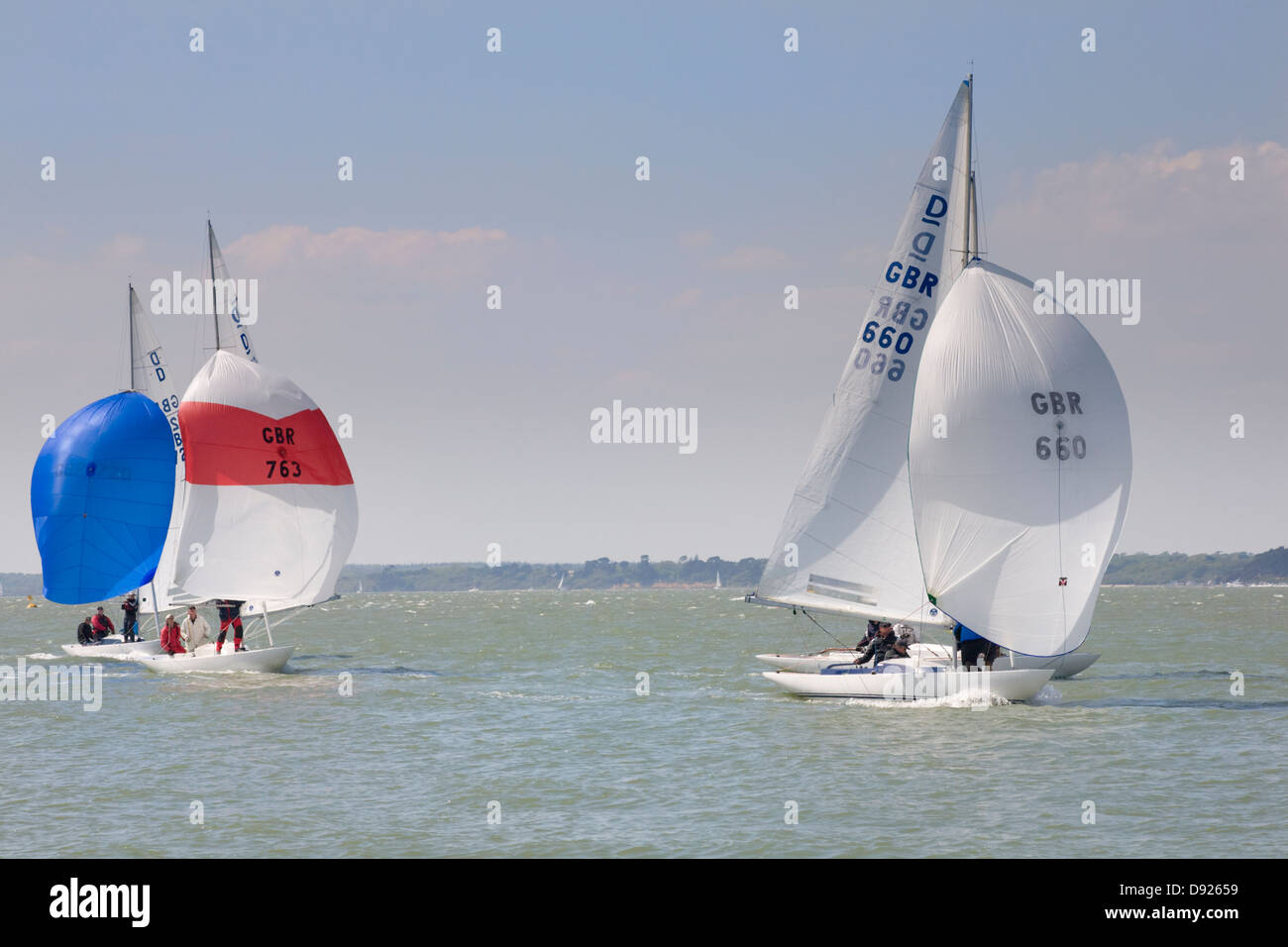 Sailing dinghies in the Solent - Stock Image