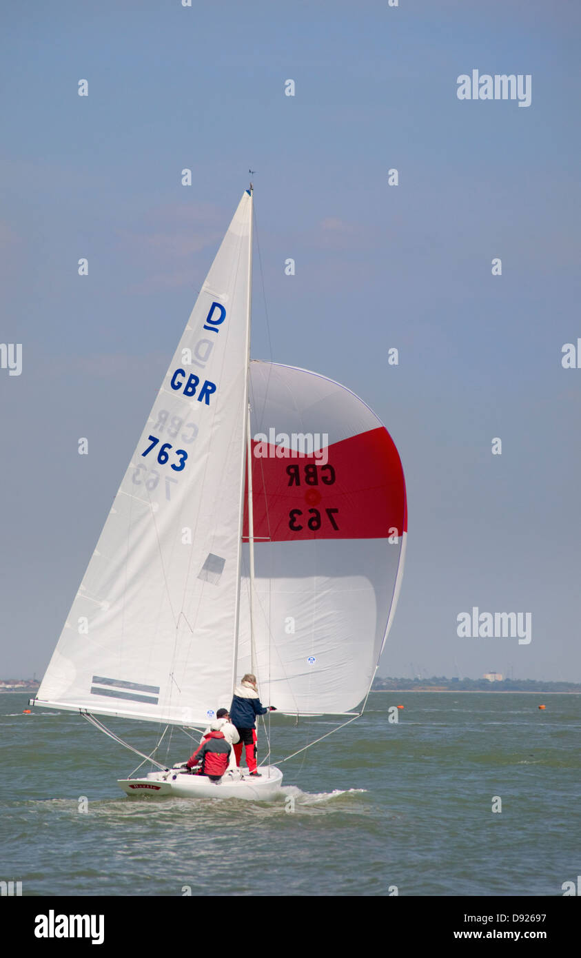 Sailing dinghy in the Solent - Stock Image