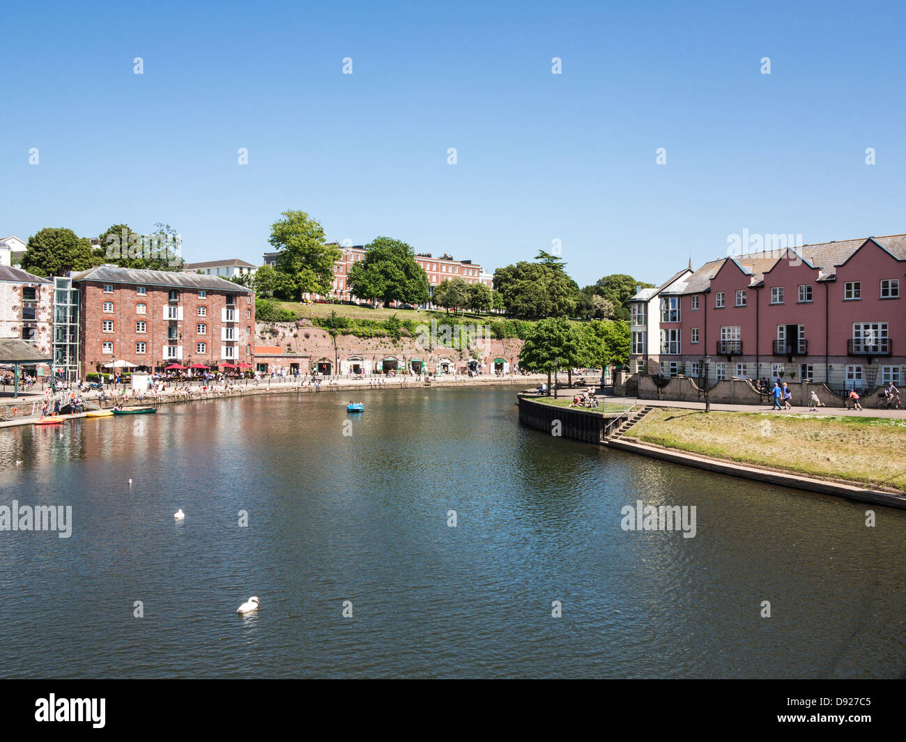 Summer on Exeter Quay beside the river Exe, Exeter, Devon, England - Stock Image