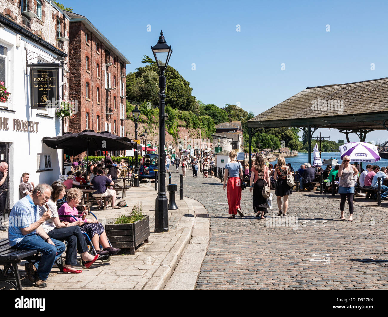 The Prospect Pub on Exeter Quay during the summer, Exeter, Devon, England - Stock Image