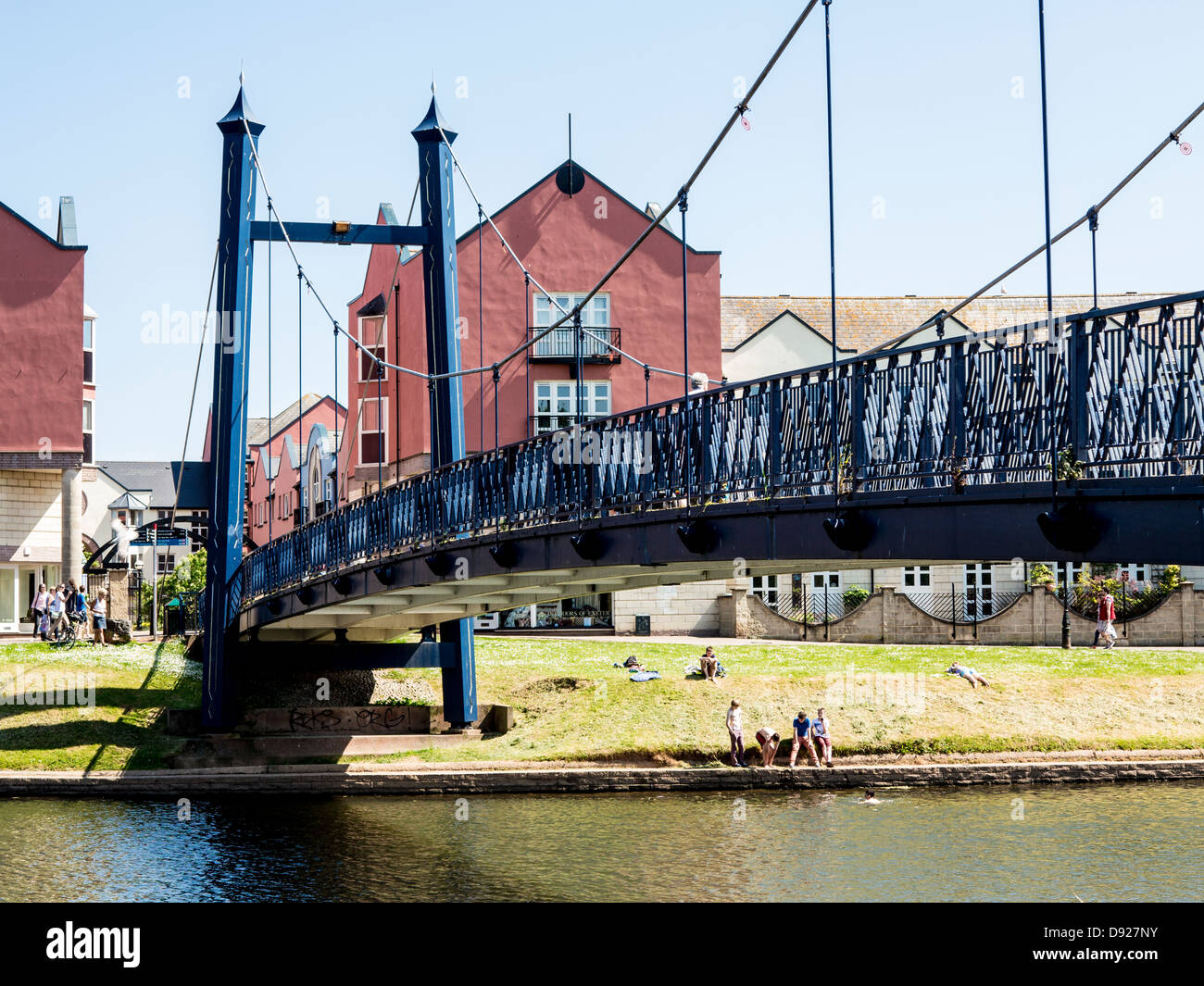 Suspension bridge over the river Exe, Exeter, Devon, England - Stock Image