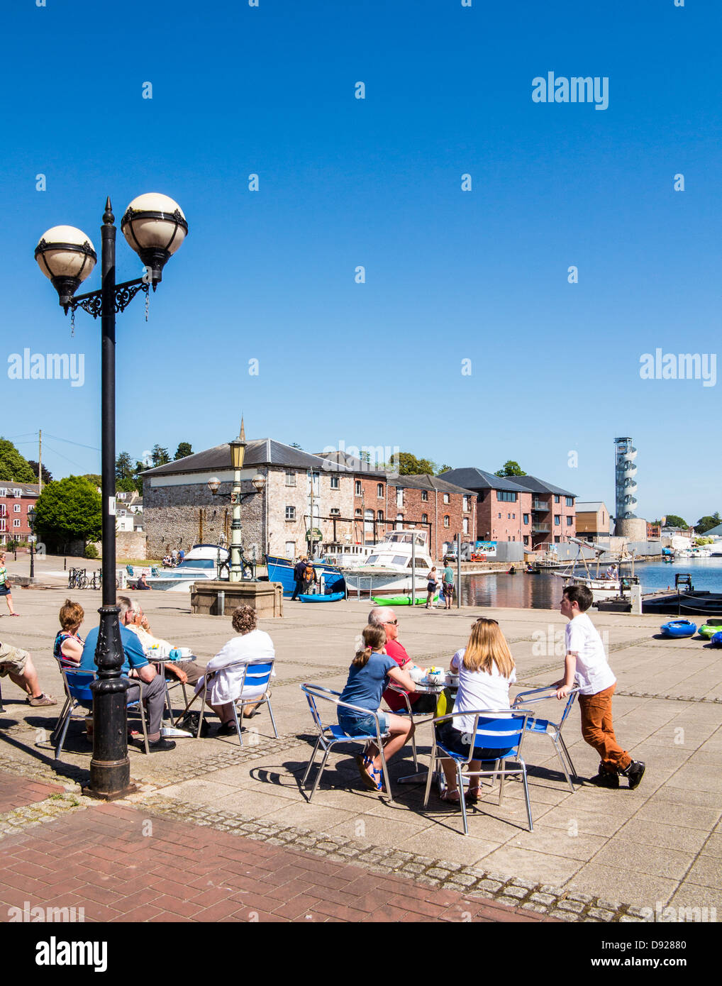 Summer on Exeter Quay beside the river Exe and canal, Exeter, Devon, England - Stock Image