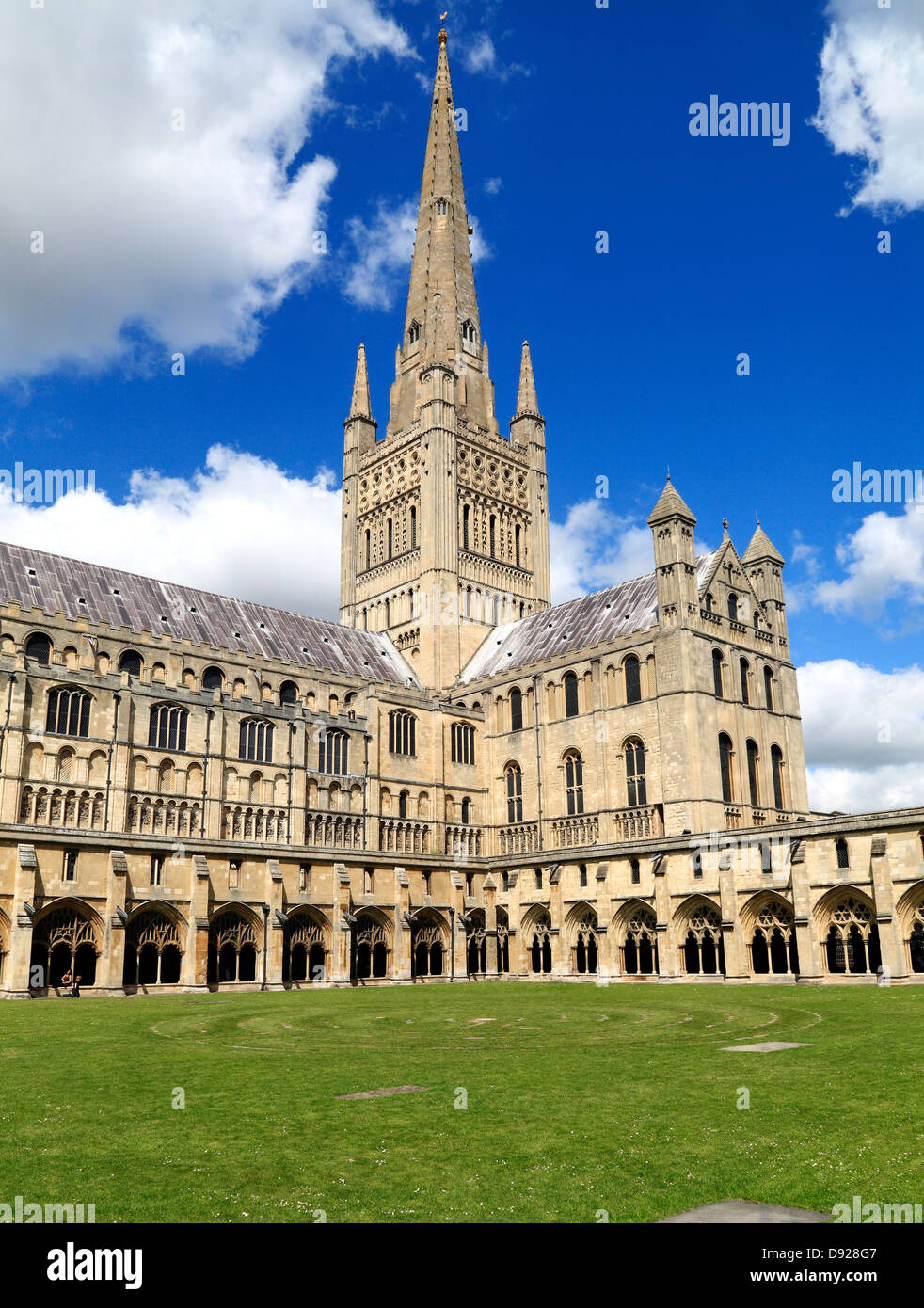 Norwich Cathedral Spire , Nave, Transept and Cloisters, Norfolk, England, English medieval cathedrals - Stock Image