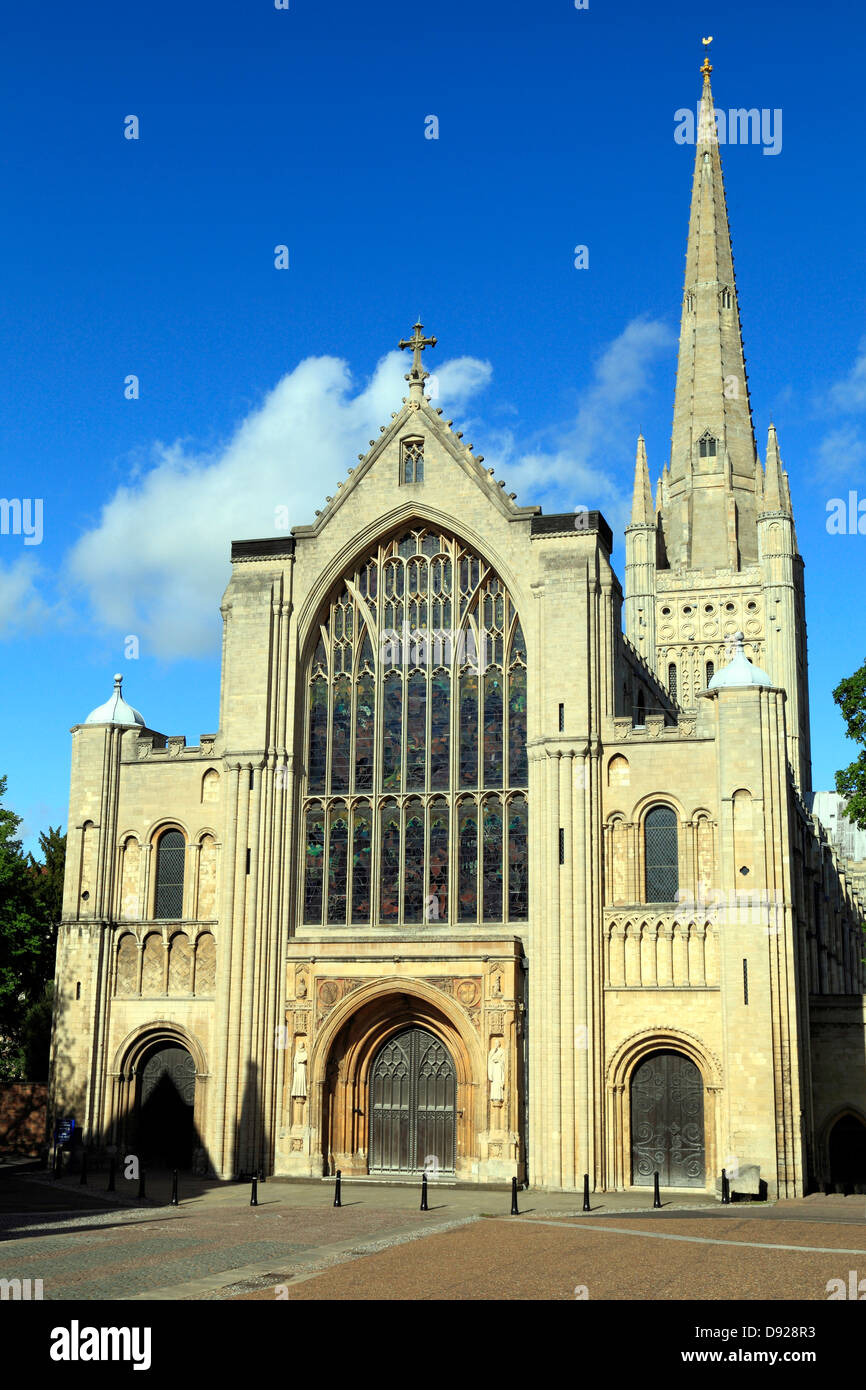 Norwich Cathedral, West Front and Spire, English medieval cathedrals, Norfolk, England UK - Stock Image