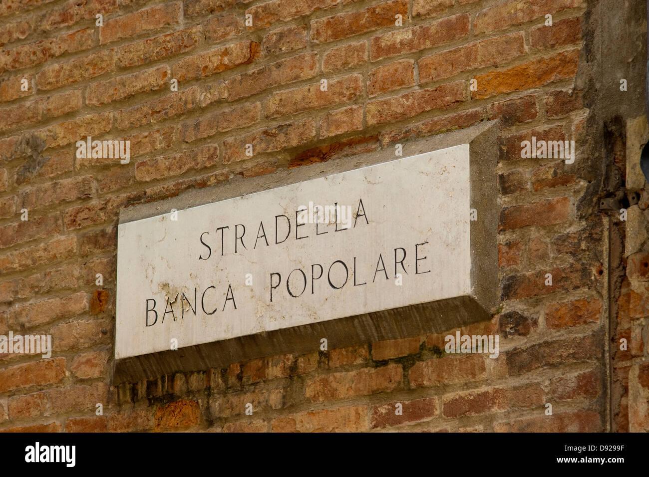 Street sign for Stradella Banca Popolare in Vicenza, Italy. - Stock Image