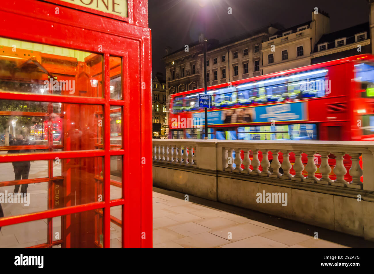 London Red Telephone Box and bus. London, England. - Stock Image