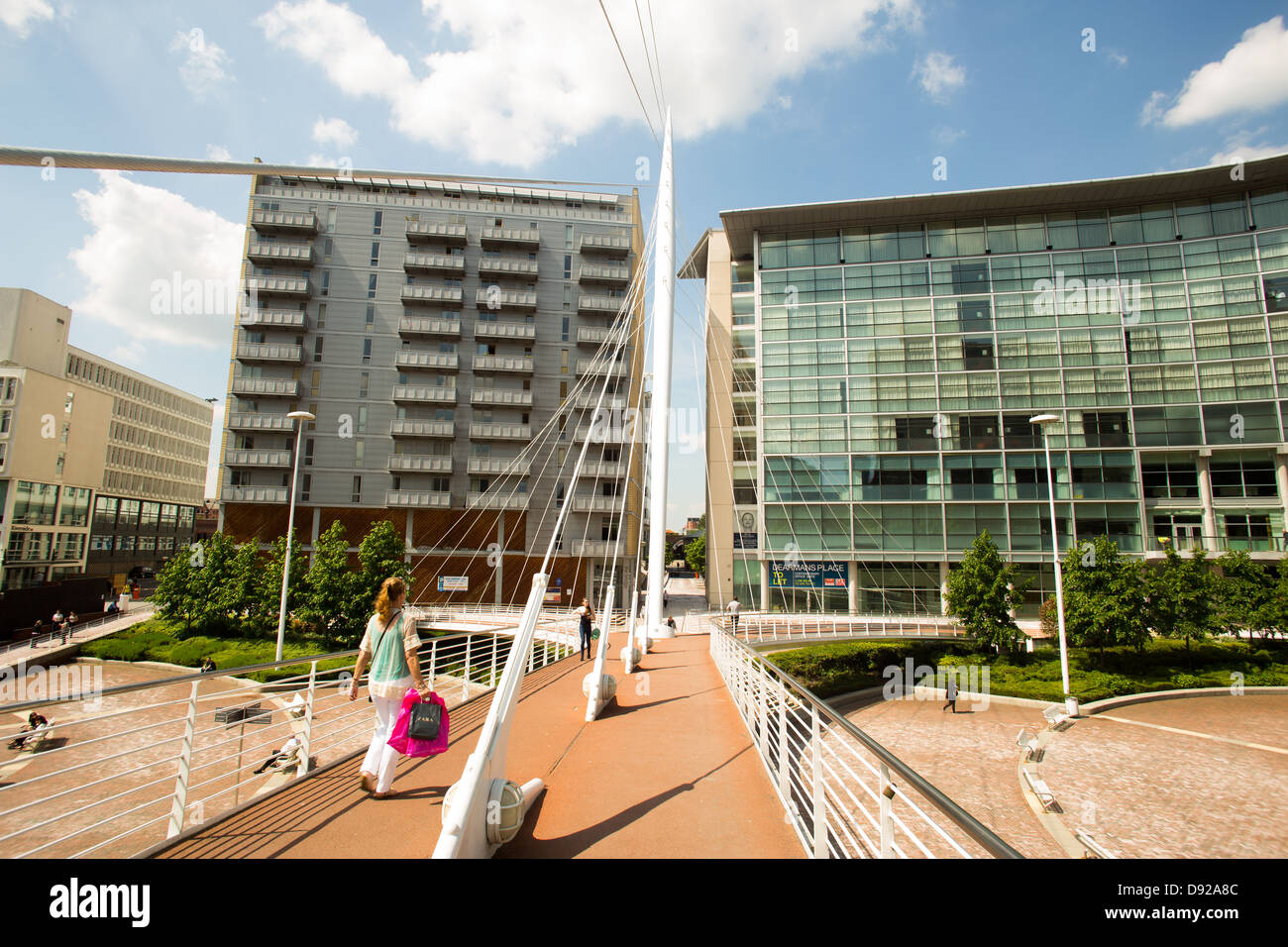 Trinity Bridge over the River Irwell , Manchester. Picture taken looking towards Lowry Hotel , Salford - Stock Image