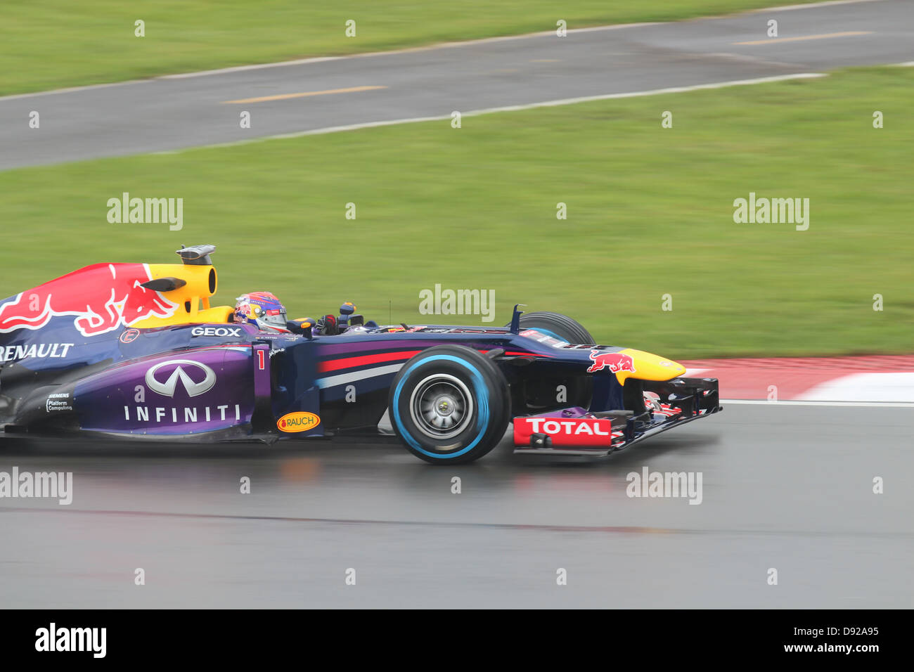 F1 team Red Bull and race driver, Vettel Stock Photo