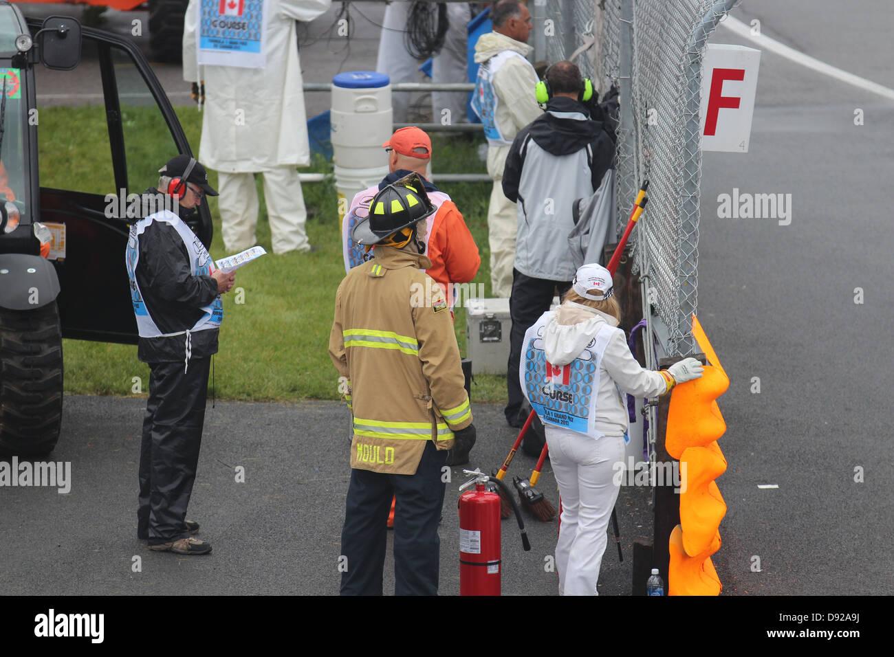 Emergency track crew at Montreal Grand Prix Stock Photo