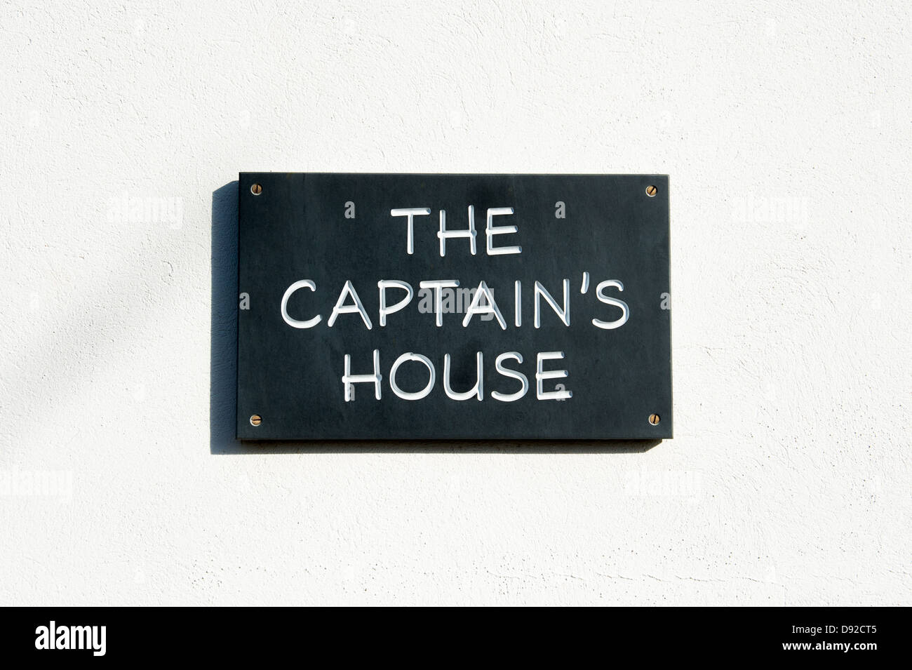 The Captains house sign. Hope Cove, Devon, England - Stock Image