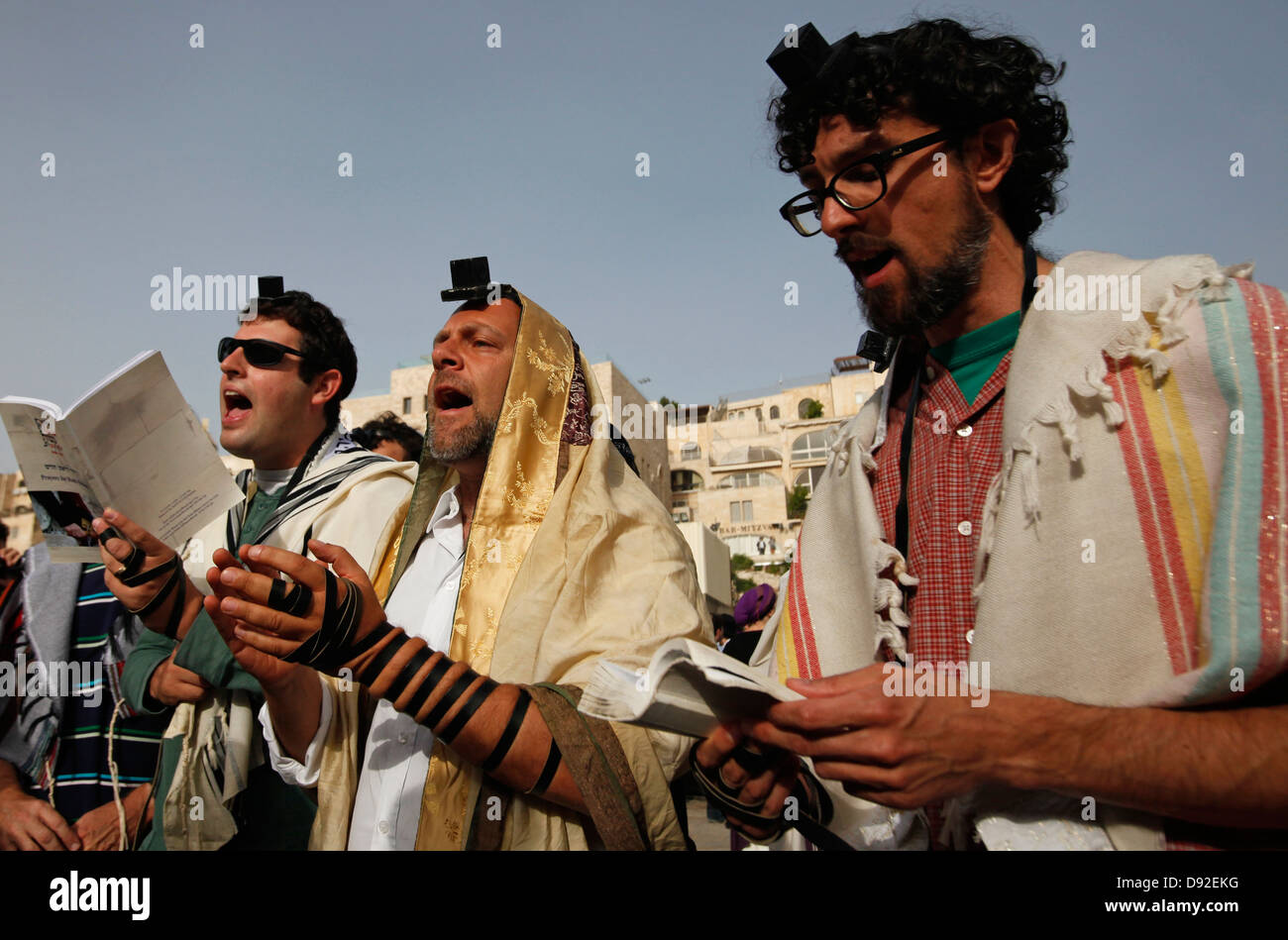 Members of the religious Reform Judaism praying in the Western Wall in the Old City of Jerusalem Israel - Stock Image