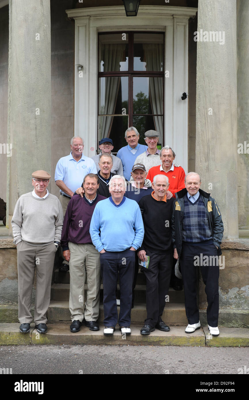 Twelve of Englands 1966 world cup winning squad re-united on Brocton Hall Golf Course in Staffordshire. LtoR Sir - Stock Image