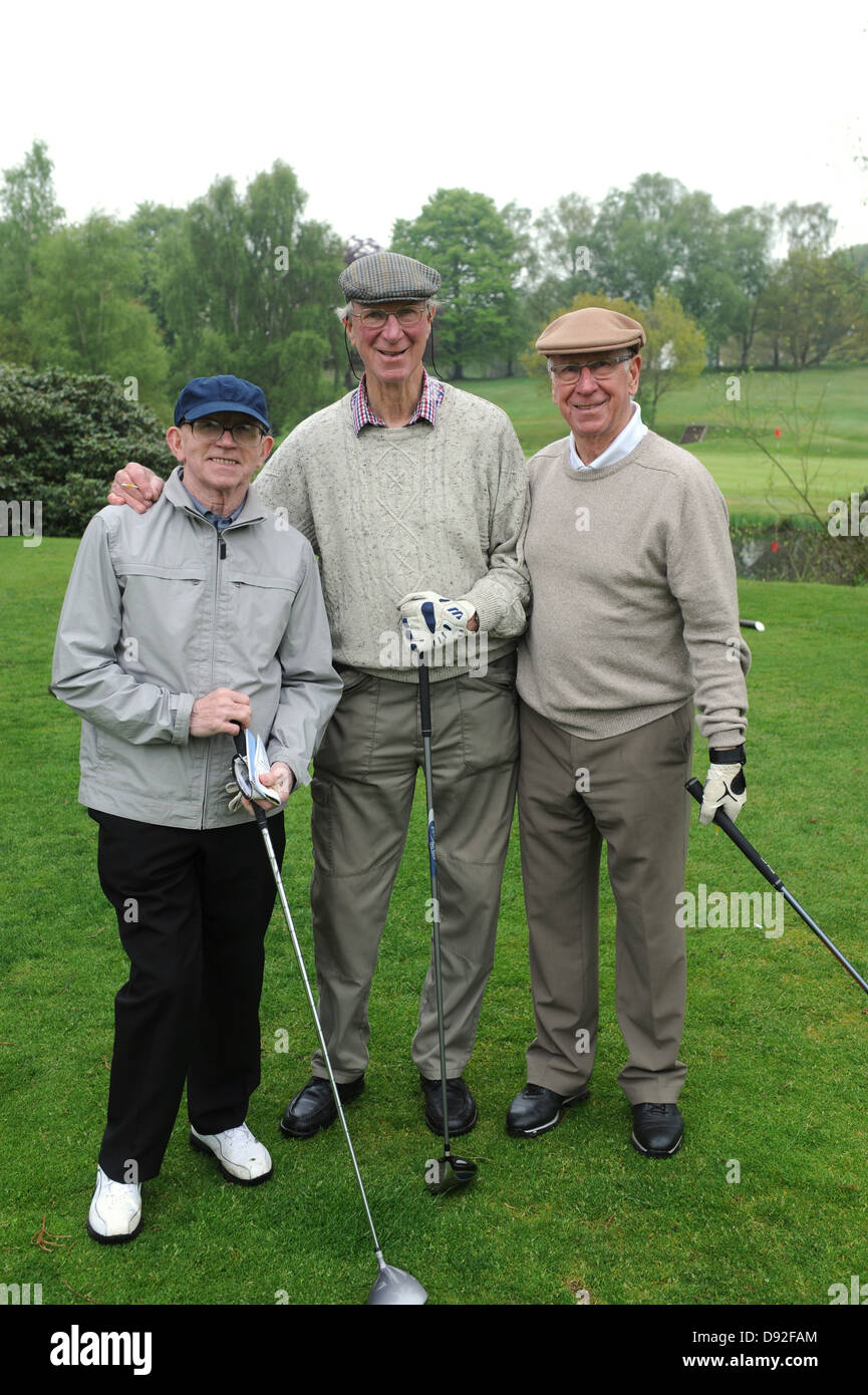Sir Bobby Charlton and his brother Jack with Nobby Stiles at Brocton Hall Golf Course in Staffordshire May 20th - Stock Image