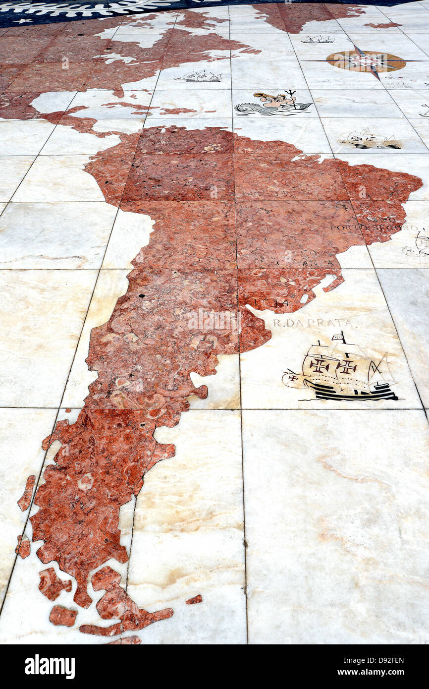 South America card on the pavement of Discoveries Monument Lisbon Portugal - Stock Image