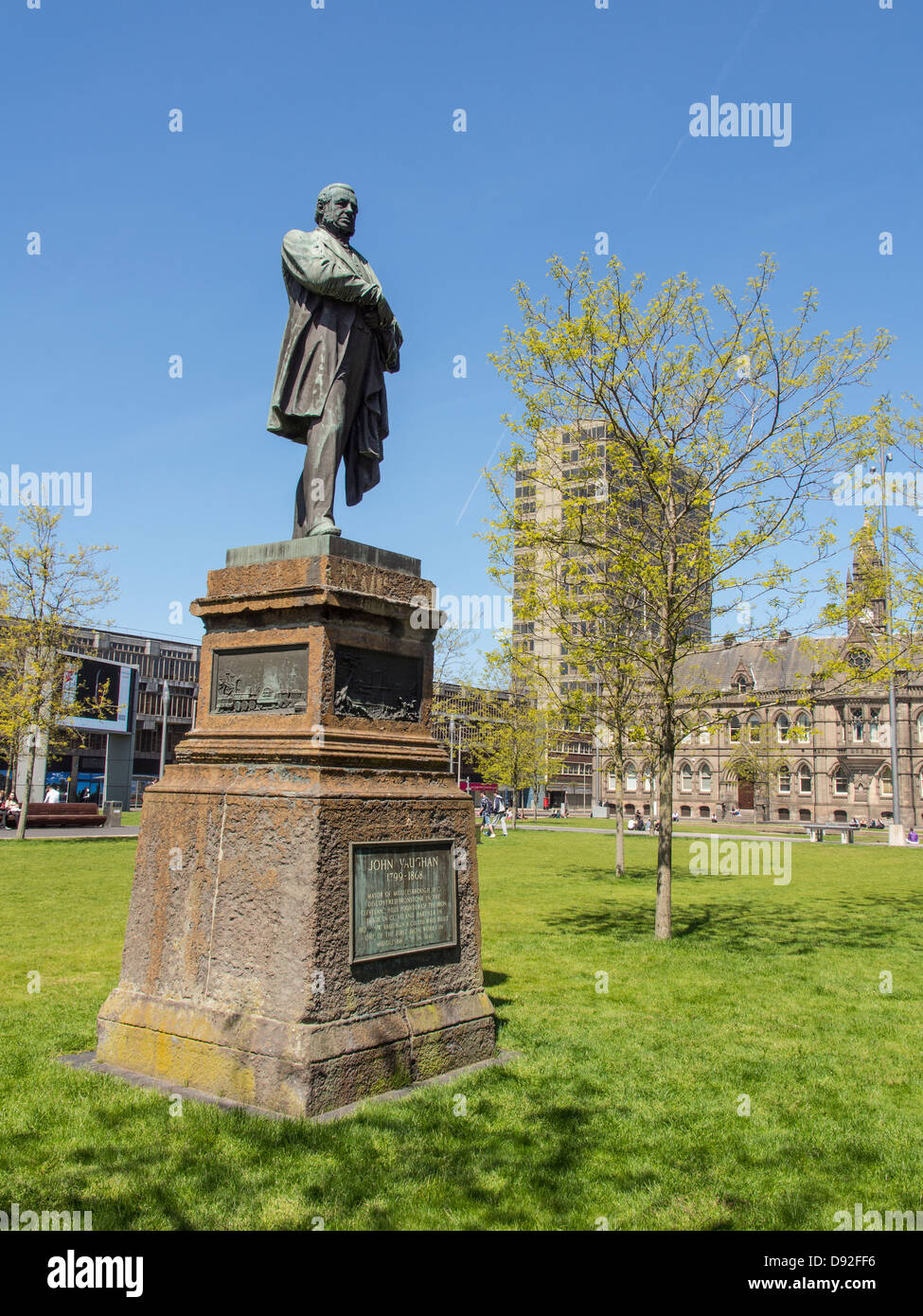 Statue of John Vaughan 1799-1868 in Centre Square Middlesbrough UK. He discovered local ironstone deposits. - Stock Image