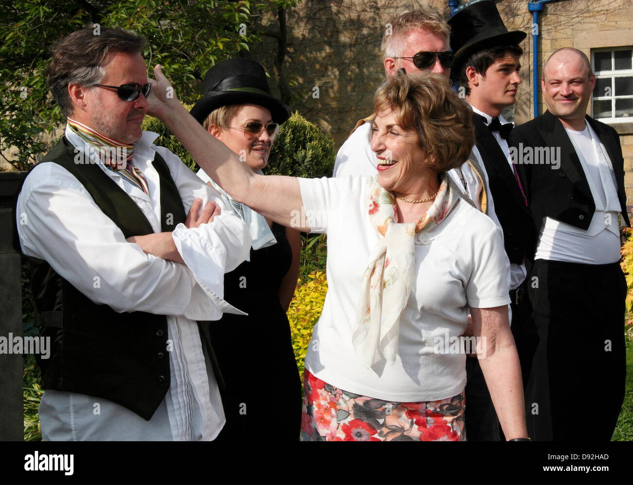 9th June 2013. Bakewell, Derbyshire, UK. Former MP Edwina Currie presides over the Best Dressed Darcy competition - Stock Image