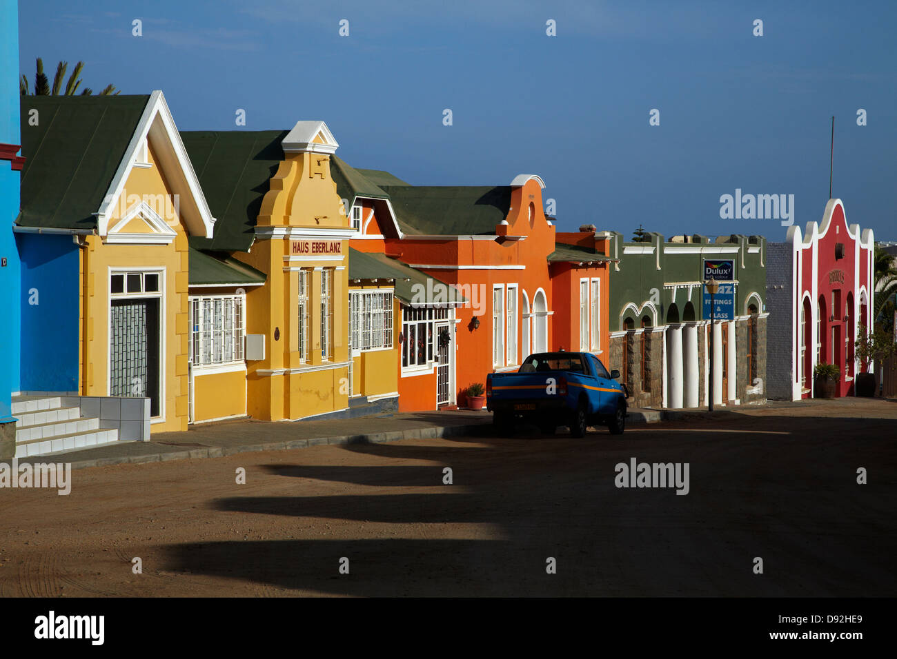 Colourful German colonial architecture, Luderitz, Namibia, Africa - Stock Image