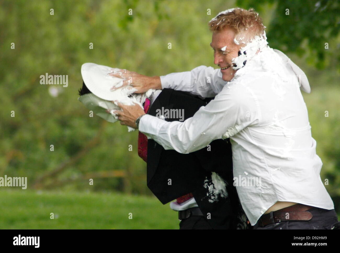Bakewell, Derbyshire,UK. 9th June 2013. Competitors in the Mr Darcy Custard Pie Fight that took place as part of - Stock Image
