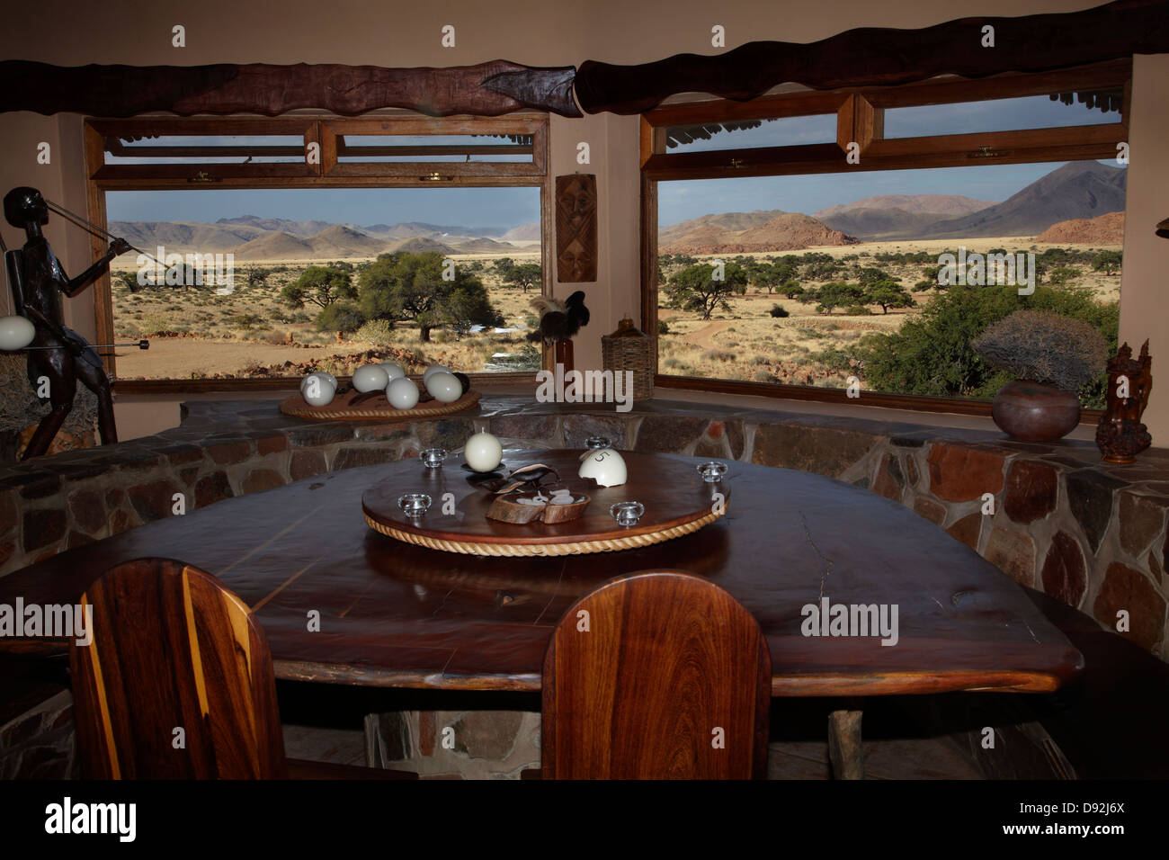 Restaurant, Fest Inn Fels Farm Lodge, Ranch Koiimasis, Tiras Mountains, Southern Namibia, Africa Stock Photo