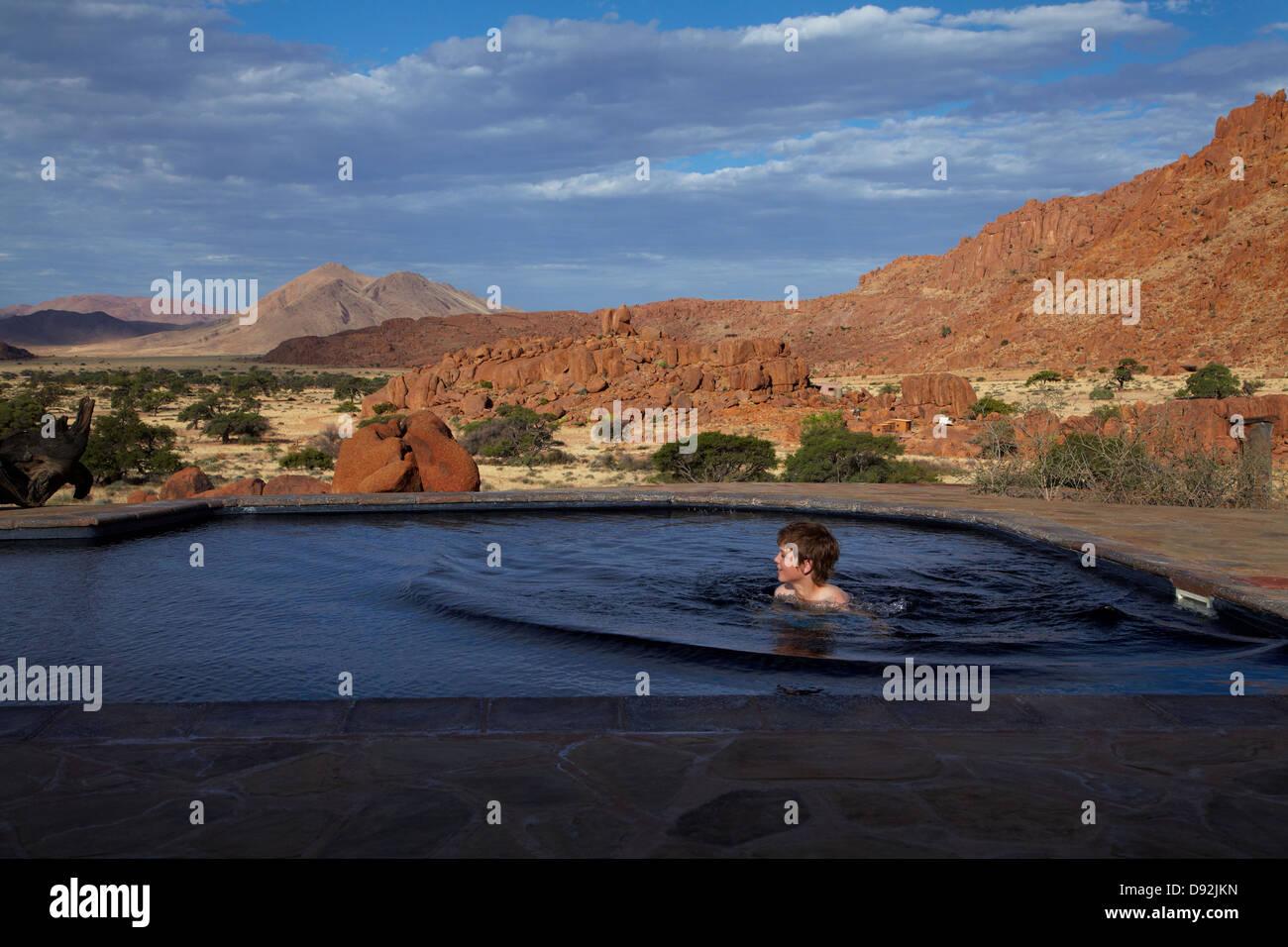 Swimming pool, Fest Inn Fels Farm Lodge, Ranch Koiimasis, Tiras Mountains, Southern Namibia, Africa - Stock Image