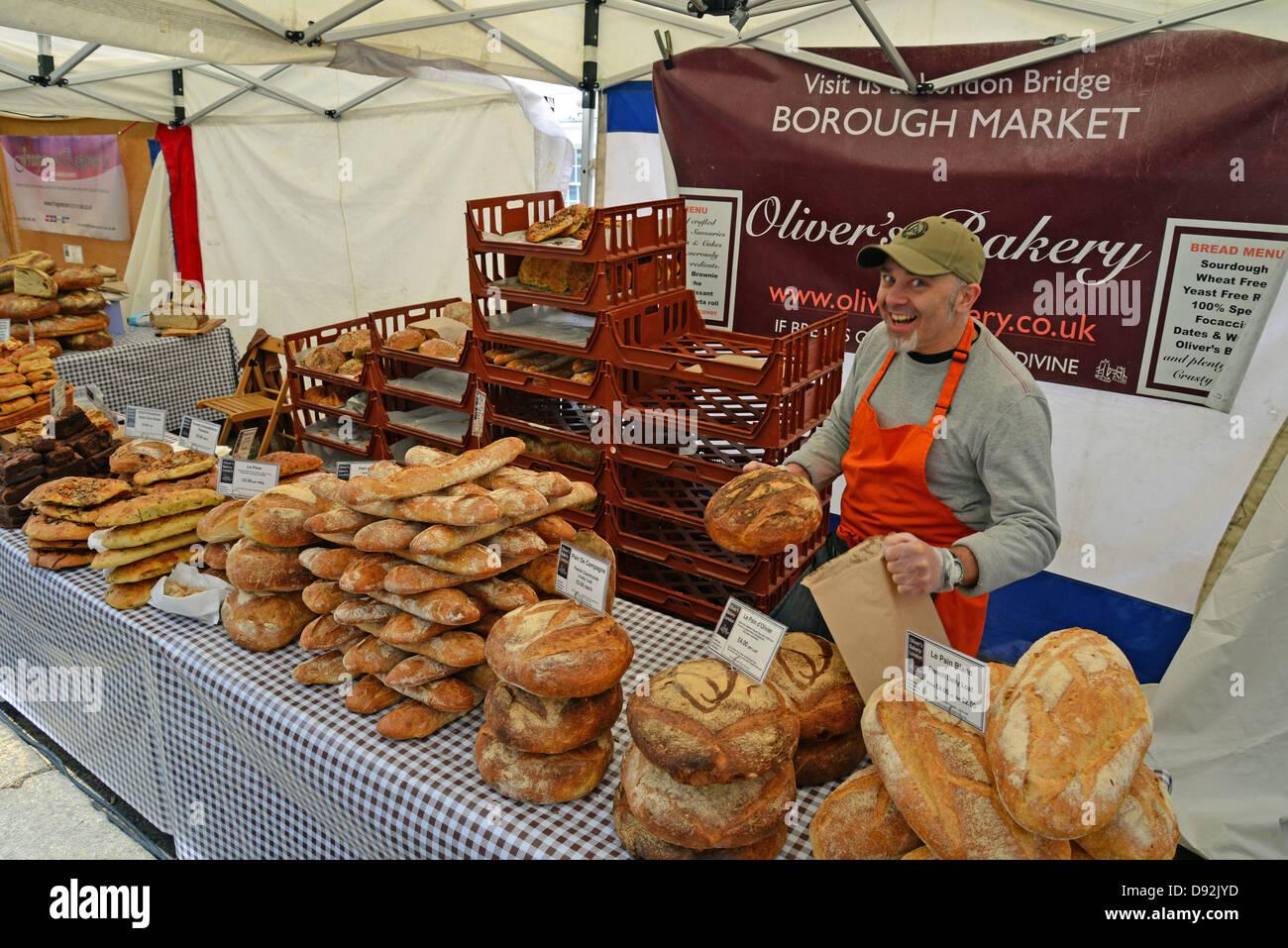 Bread selection on bakery stall at Farmer's Market, Bishop's Stortford, Hertfordshire, England, United Kingdom Stock Photo