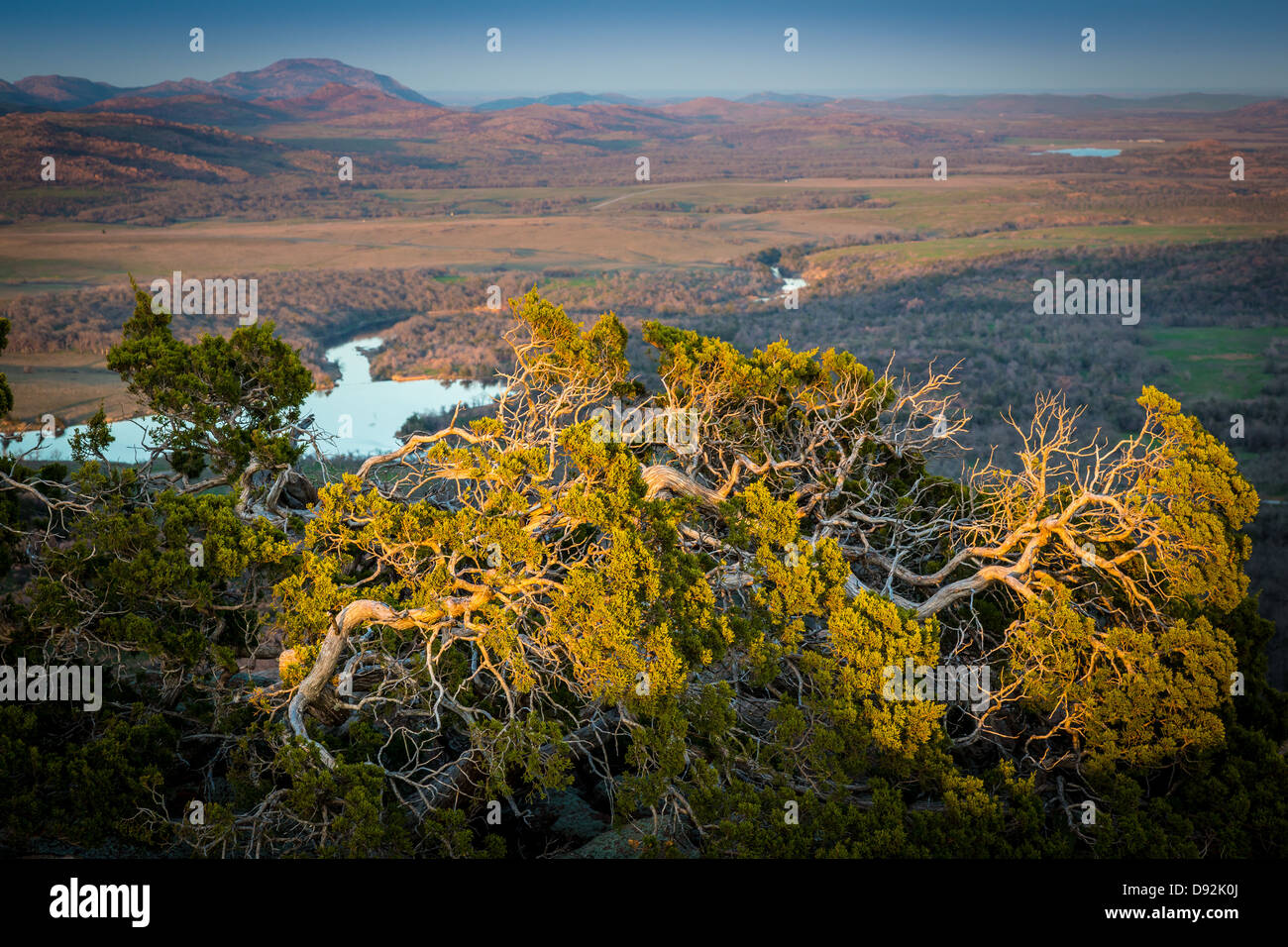 View from Elk Mountain in Wichita Mountains Wildlife Refuge, Oklahoma - Stock Image