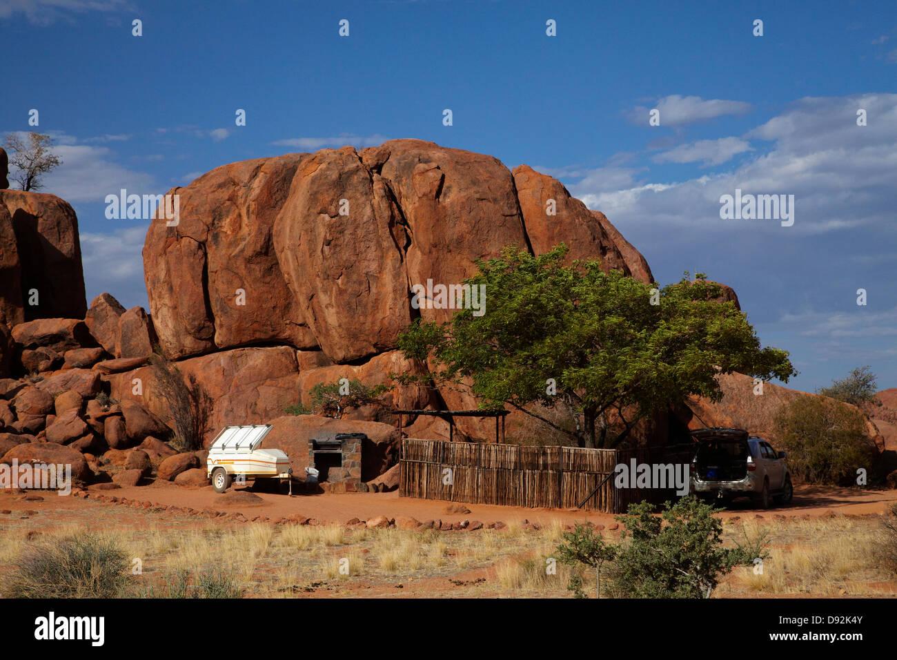 Camp site at Ranch Koiimasis, Tiras Mountains, Southern Namibia, Africa - Stock Image