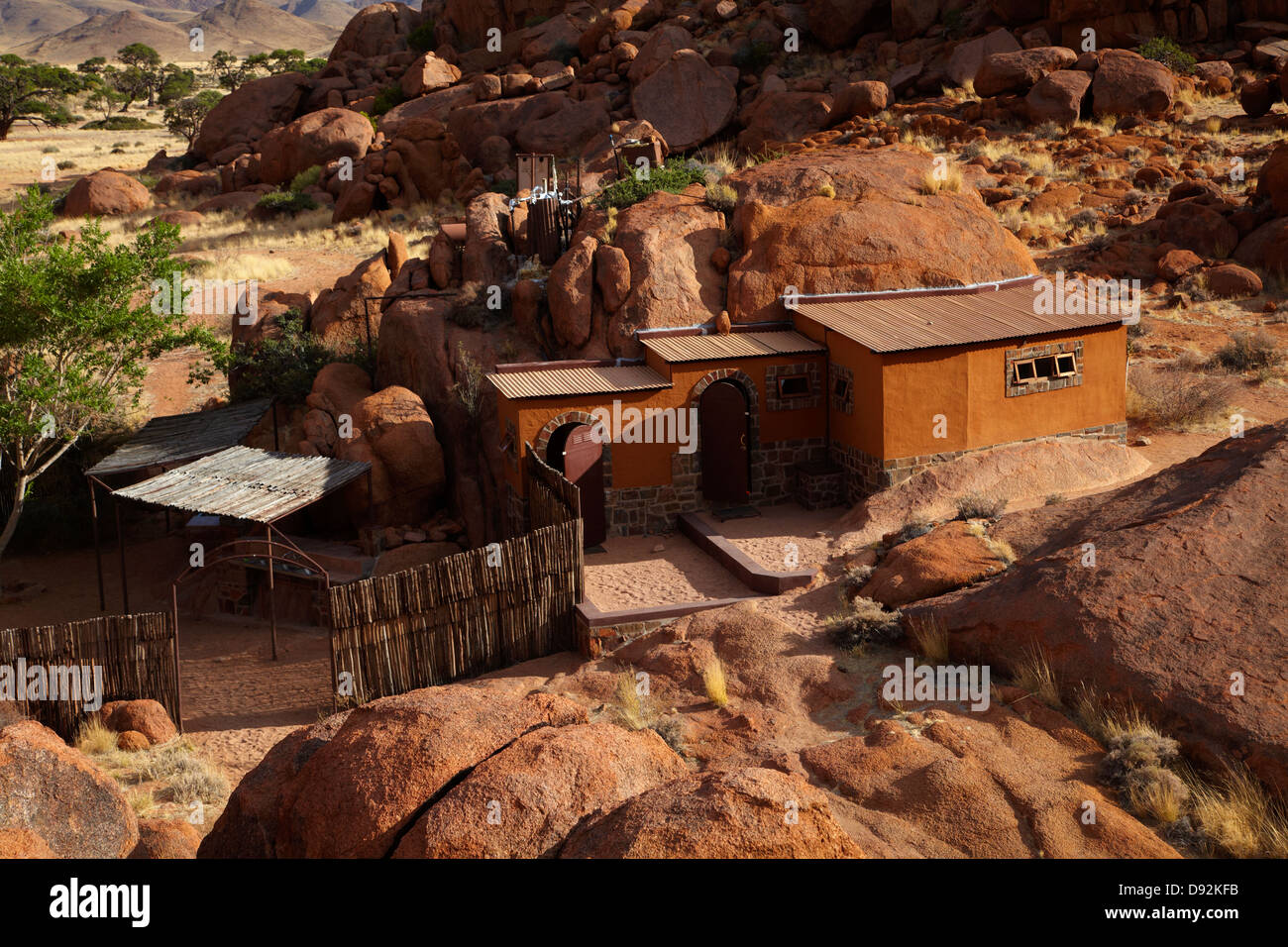 Ablutions block built into rocks, camp site at Ranch Koiimasis, Tiras Mountains, Southern Namibia, Africa - Stock Image