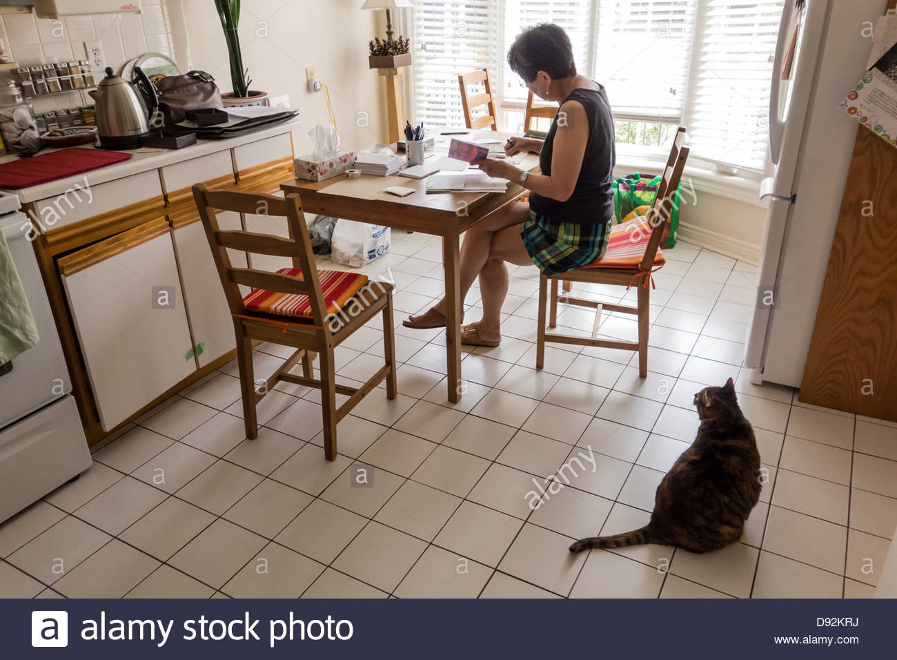 Writing Thank You Cards At Kitchen Table In Toronto Ontario Canada Stock Photo Alamy
