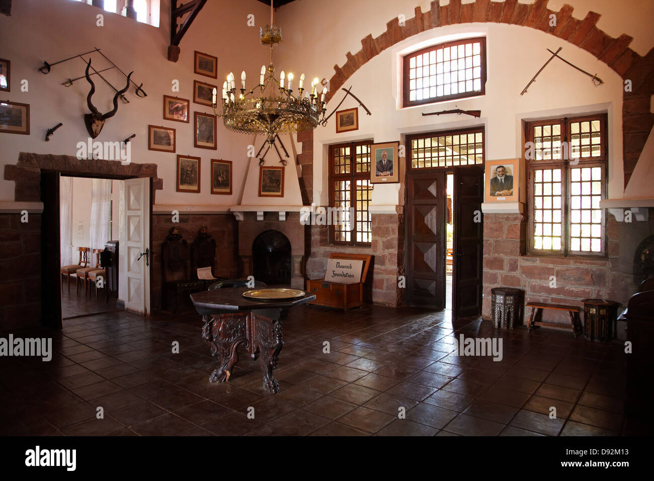 Entrance hall, Duwisib Castle (1908), Southern Namibia, Africa - Stock Image