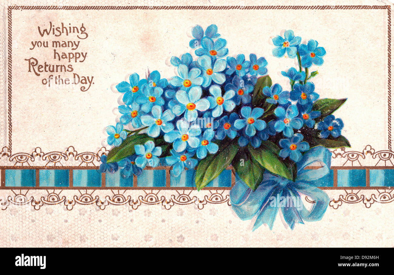 Wishing You Many Happy Returns Of The Day Vintage Birthday Card Stock Photo Alamy