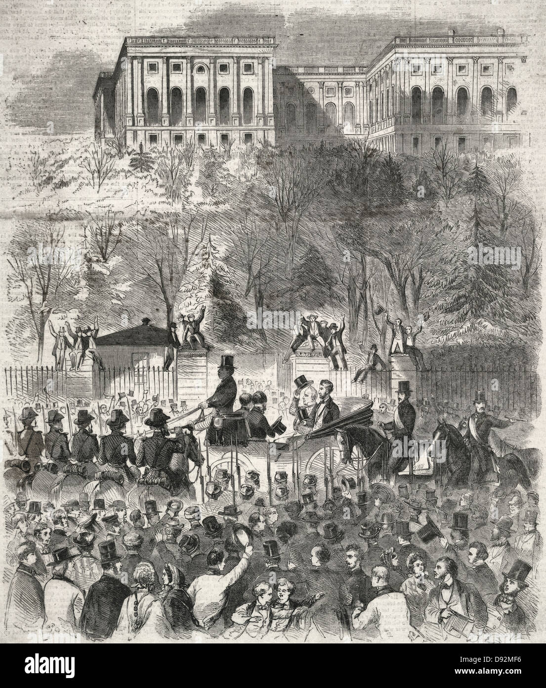The inaugural procession at Washington passing the gate of the Capitol grounds - President-elect Lincoln and President - Stock Image