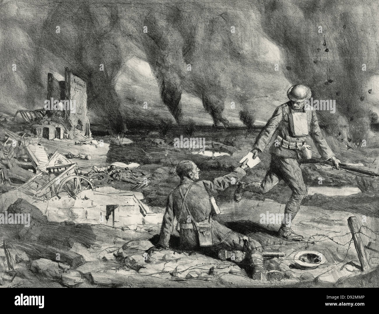 Runners working in a barrage, soldiers passing along a written message during a battle in World War I. - Stock Image