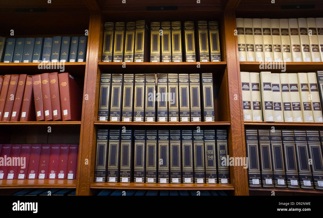 Research books in the Rose Main Reading Room in The New York Public Library - Stock Image