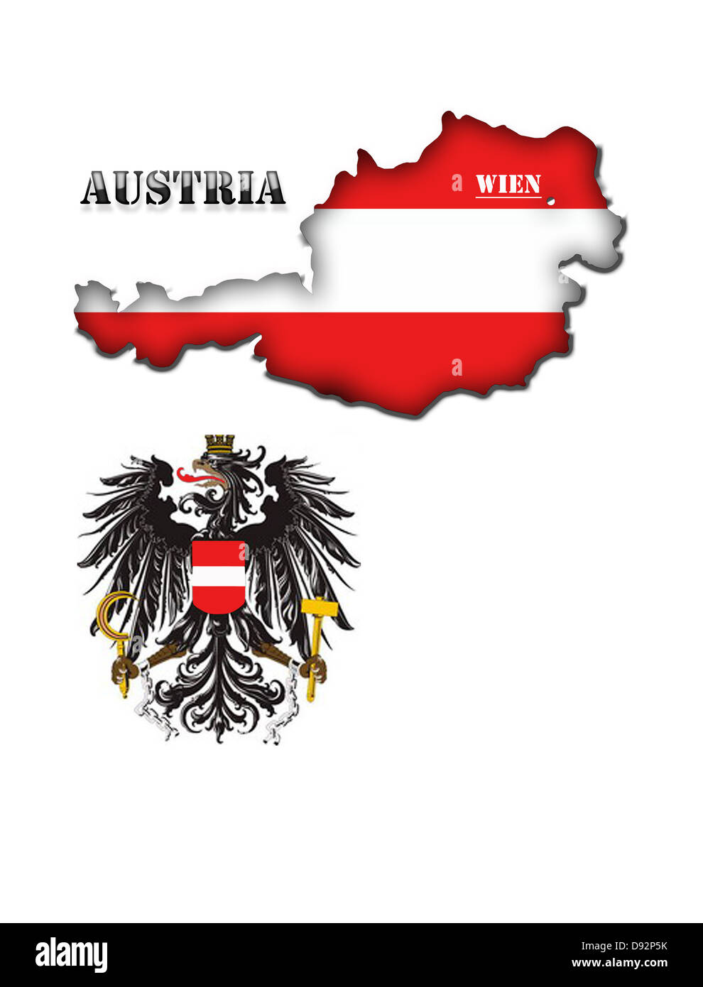 Colored silhouette of the map and the arms of Austria - Stock Image