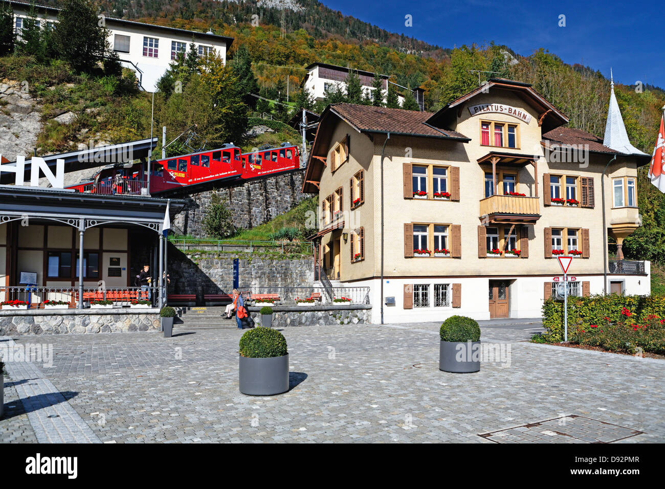 Pilatus Mountain Cogwheel Train Station, Alpnach, Switzerland - Stock Image