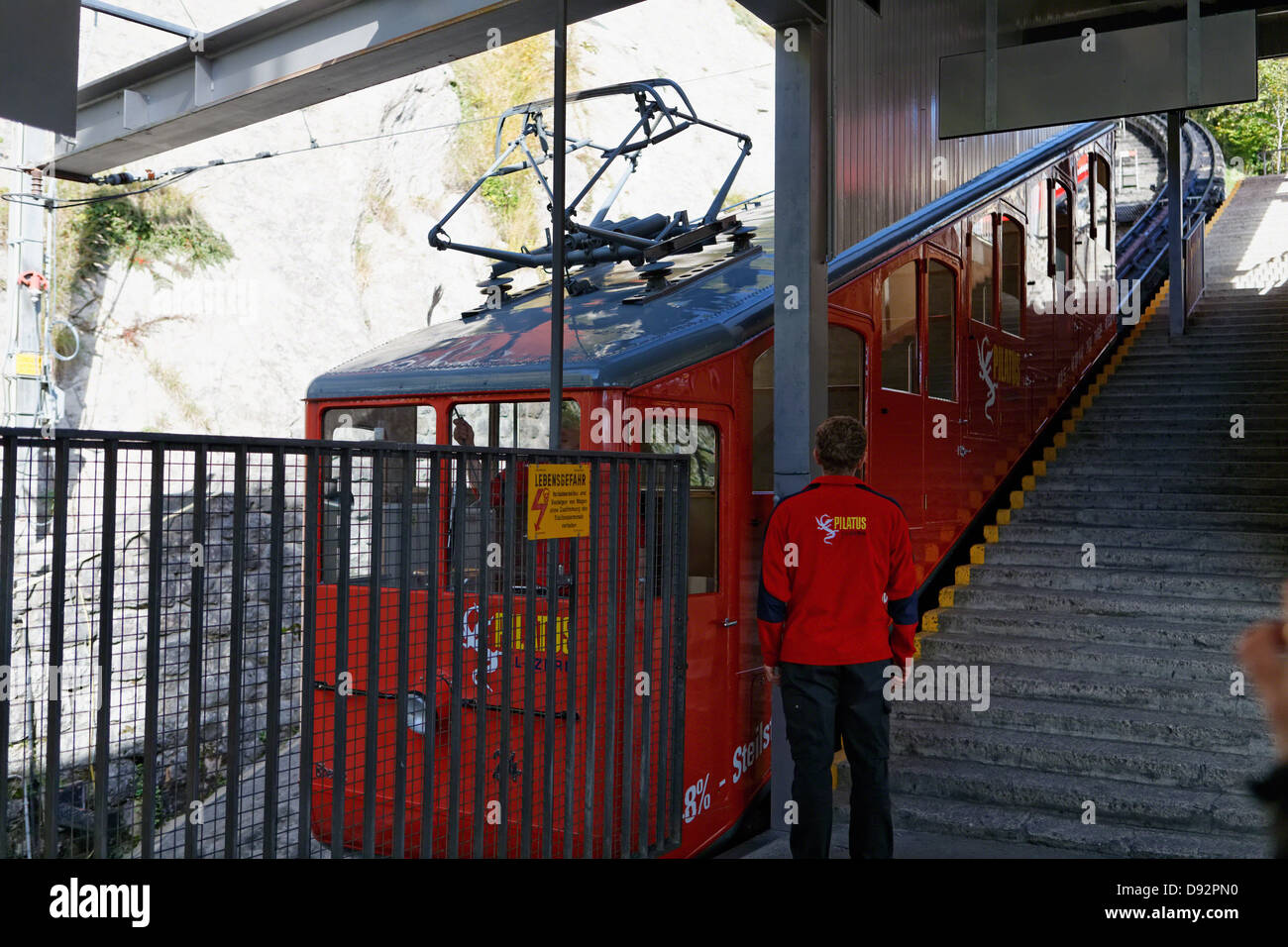 Cogwheel Train Station Ready to Ascend to Pilatus Mountain, Alpnachstad, Switzerland - Stock Image