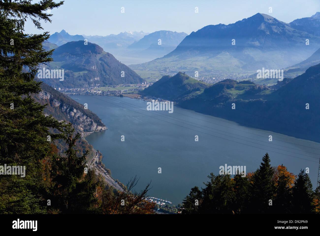 View of Lake Luzerne at Alpnachstad, Obwalden,Switzerland