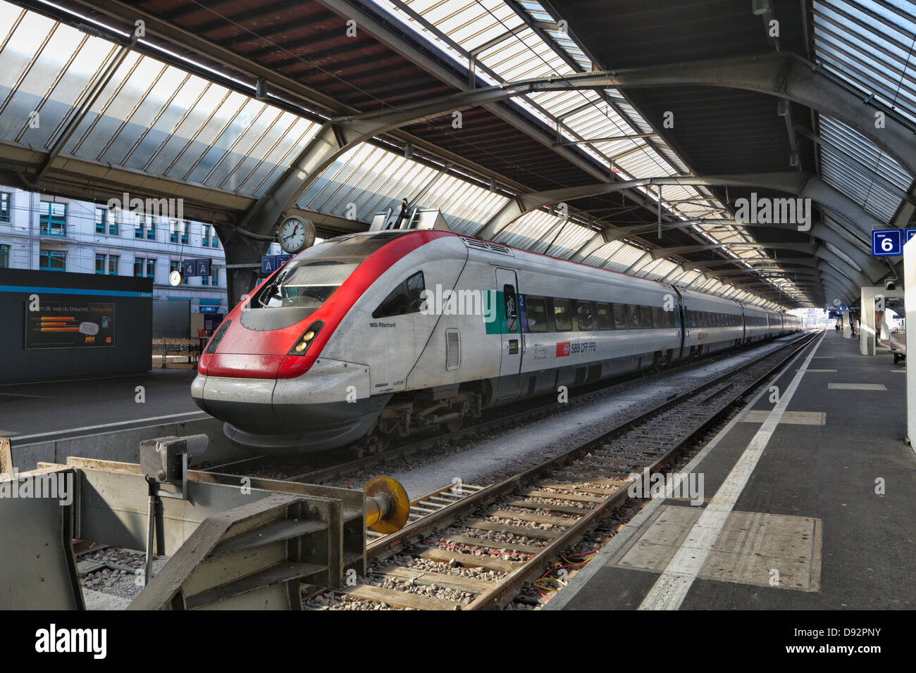 High Speed Train in the Main Railway Terminal, Zurich, Switzerland - Stock Image