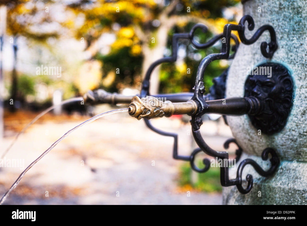 Close Up View of a Waterspout, Lindenhof Fountain, Zurich, Switzerland - Stock Image
