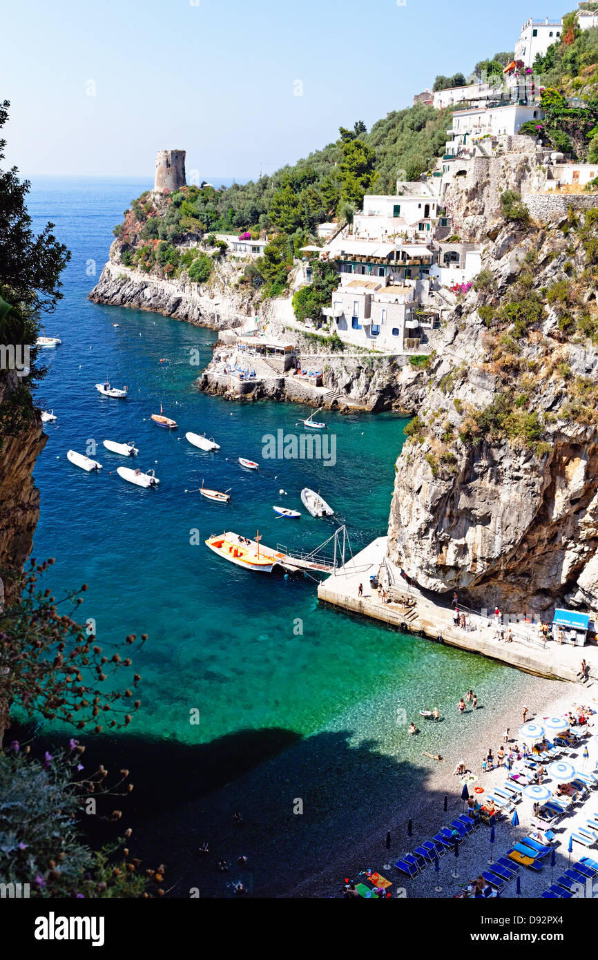 Looking Down to a Small Beach at the Amalfi Coast, Praiano, Campania, Italy - Stock Image