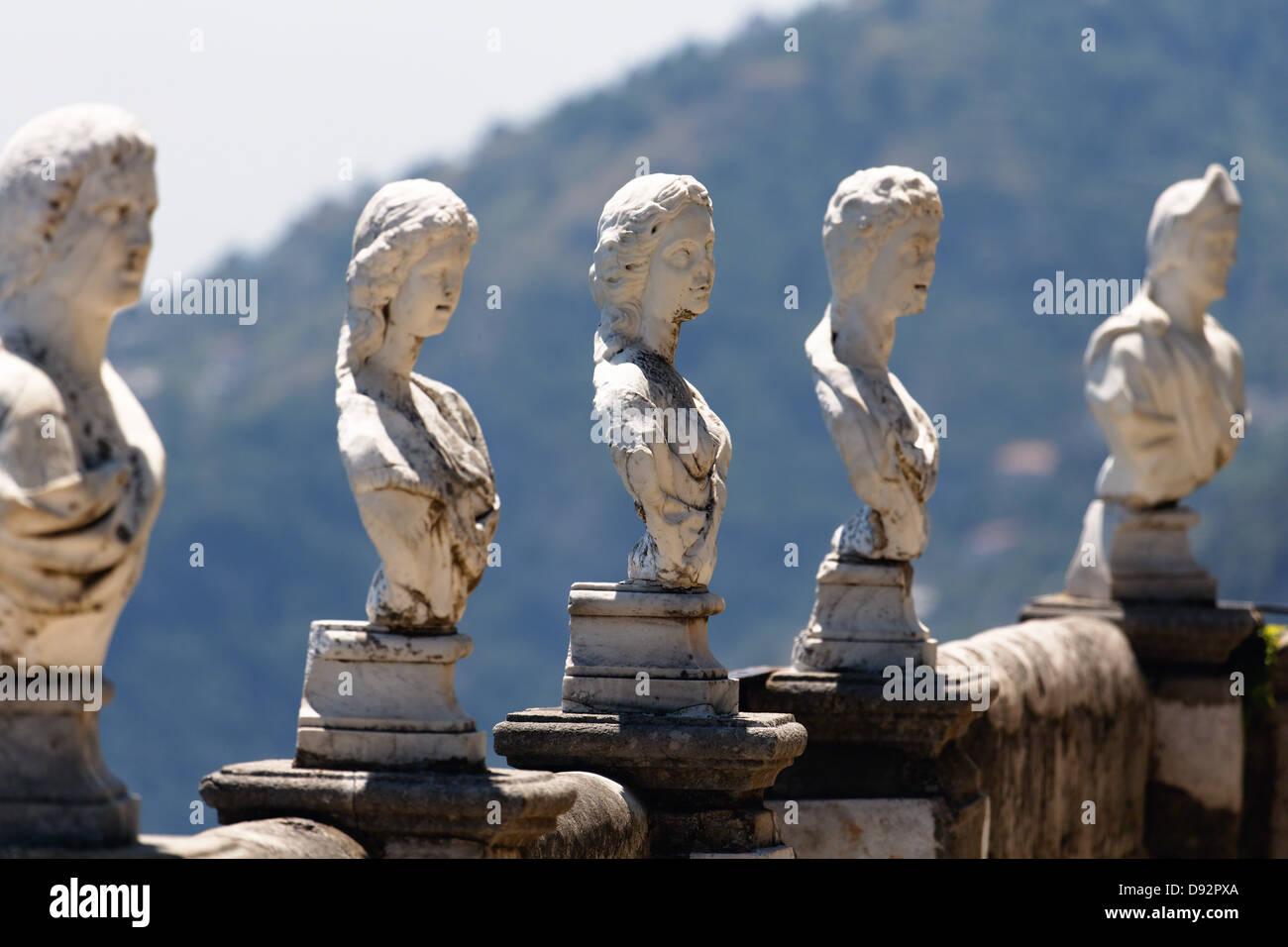 Row of Busts Sculptures on a Ledge, Terrace of Infinity, Villa Cimbrone, Ravello, Campania, Italy - Stock Image