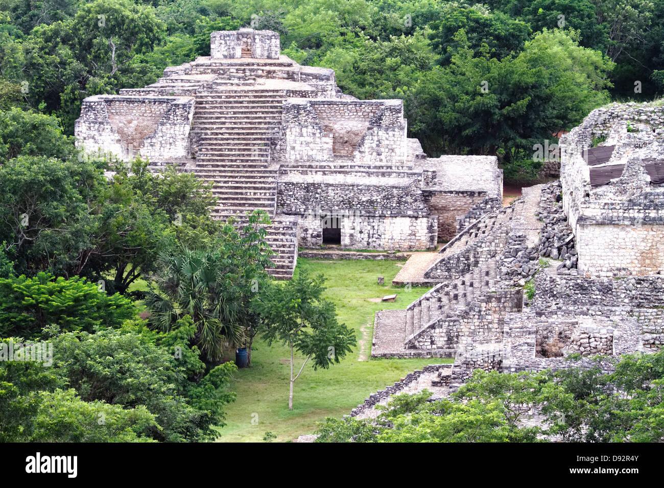 High Angle View of Mayan Ruins at Ek Balam Archeological Site, Quintana Roo, Yucatan, Mexico - Stock Image