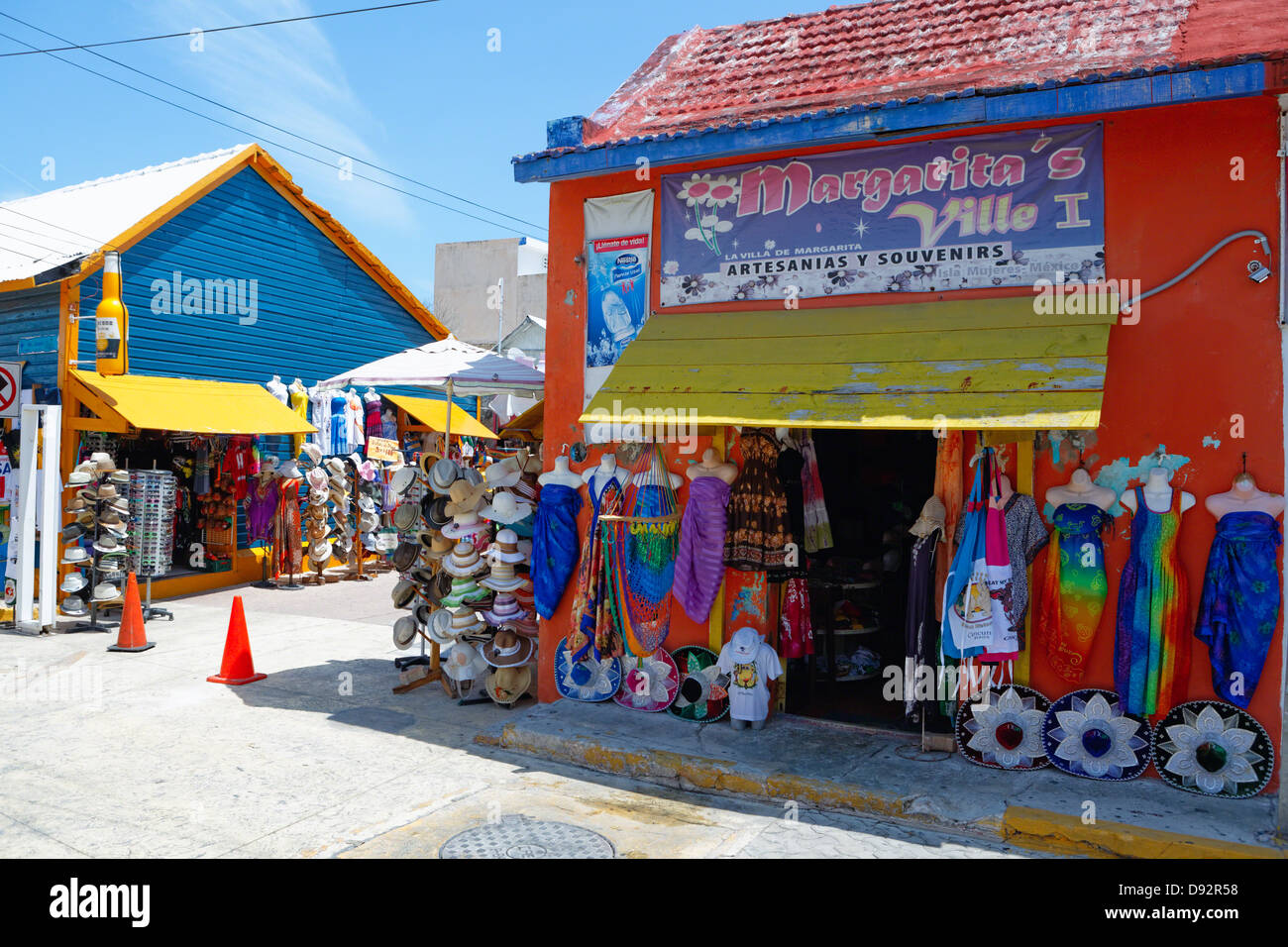 Colorful Shops in Isla Mujeres, Quinatana Roo, Mexico - Stock Image